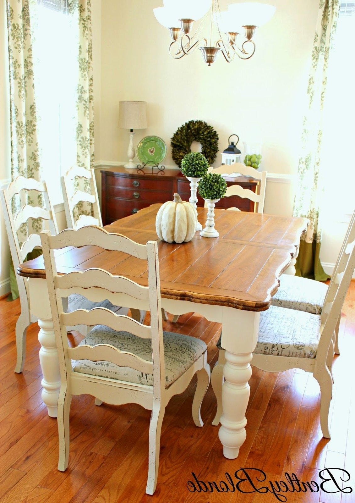 Ivory Painted Dining Tables In Widely Used Bentleyblonde: Diy Farmhouse Table & Dining Set Makeover With Annie (Gallery 7 of 25)
