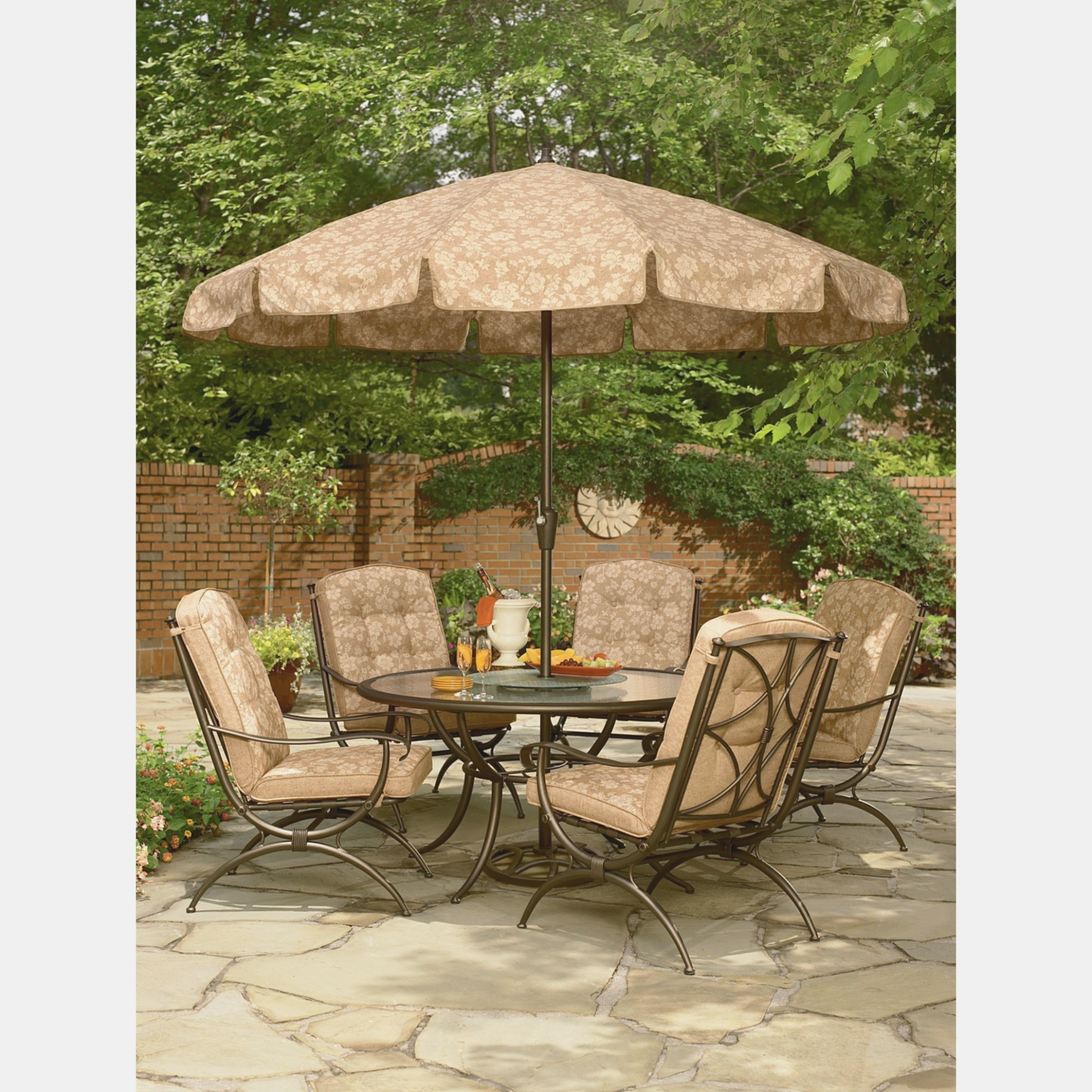 Jaclyn Smith Cora Dining Table With Lazy Susan Outdoor Living Patio inside Trendy Cora Dining Tables