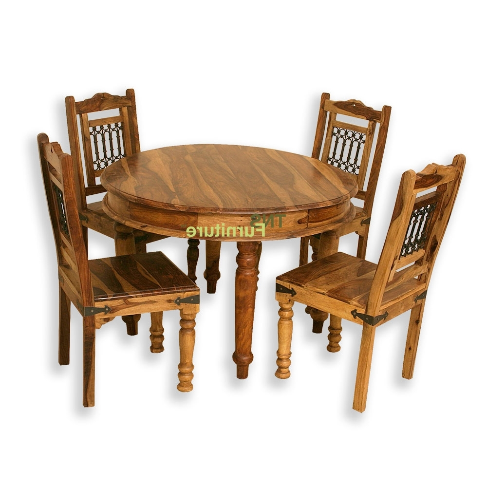 Jali 110Cm Round Dining Table In Recent Sheesham Dining Tables And Chairs (Gallery 20 of 25)