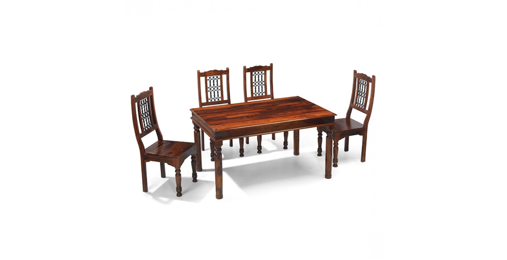 Jali Sheesham 120 Cm Thakat Dining Table And 4 Chairs - Lifestyle for Fashionable Sheesham Dining Tables And 4 Chairs