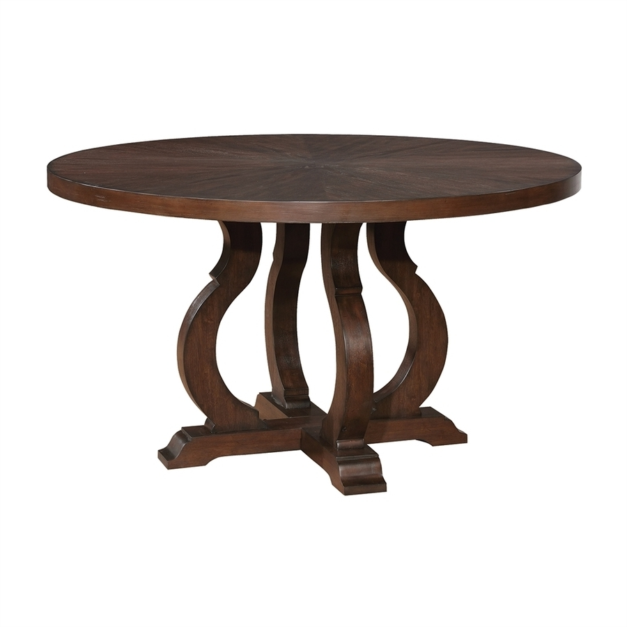 Java Dining Tables In Most Current Shop Scott Living Antique Java Wood Round Dining Table At Lowes (View 25 of 25)