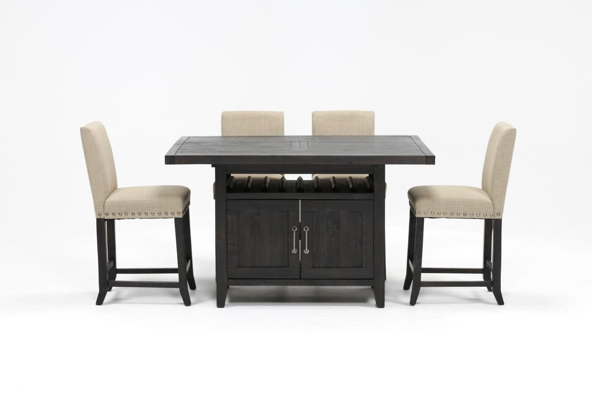 Jaxon 5 Piece Extension Counter Sets With Fabric Stools inside Current Jaxon 5 Piece Extension Counter Set W/fabric Stools