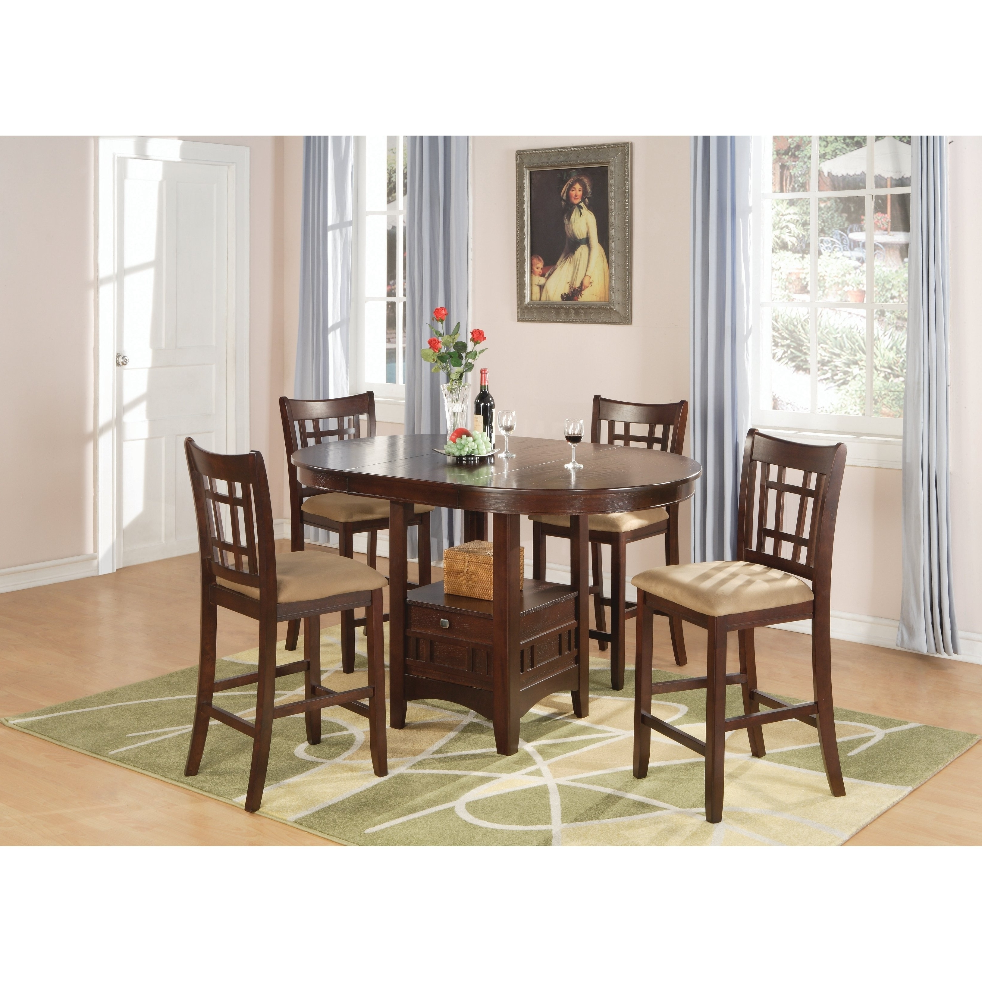 Jaxon 5 Piece Extension Counter Sets With Fabric Stools Intended For Most Popular Lavon Transitional Warm Brown 5 Piece Counter Height Dining Set (View 15 of 25)