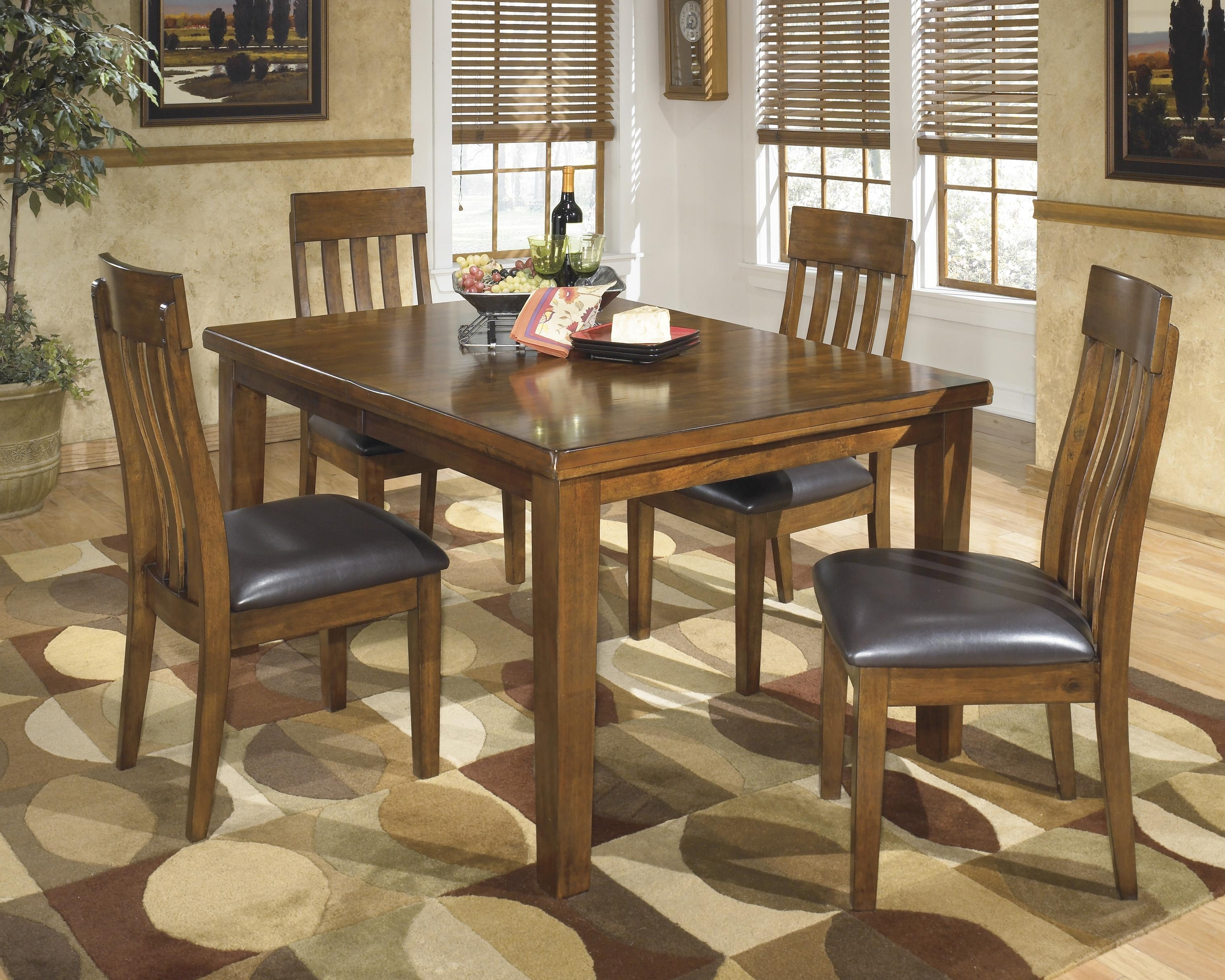 Jaxon 5 Piece Extension Counter Sets With Fabric Stools pertaining to 2017 Signature Designashley Ralene Casual 5 Piece Dining Set With