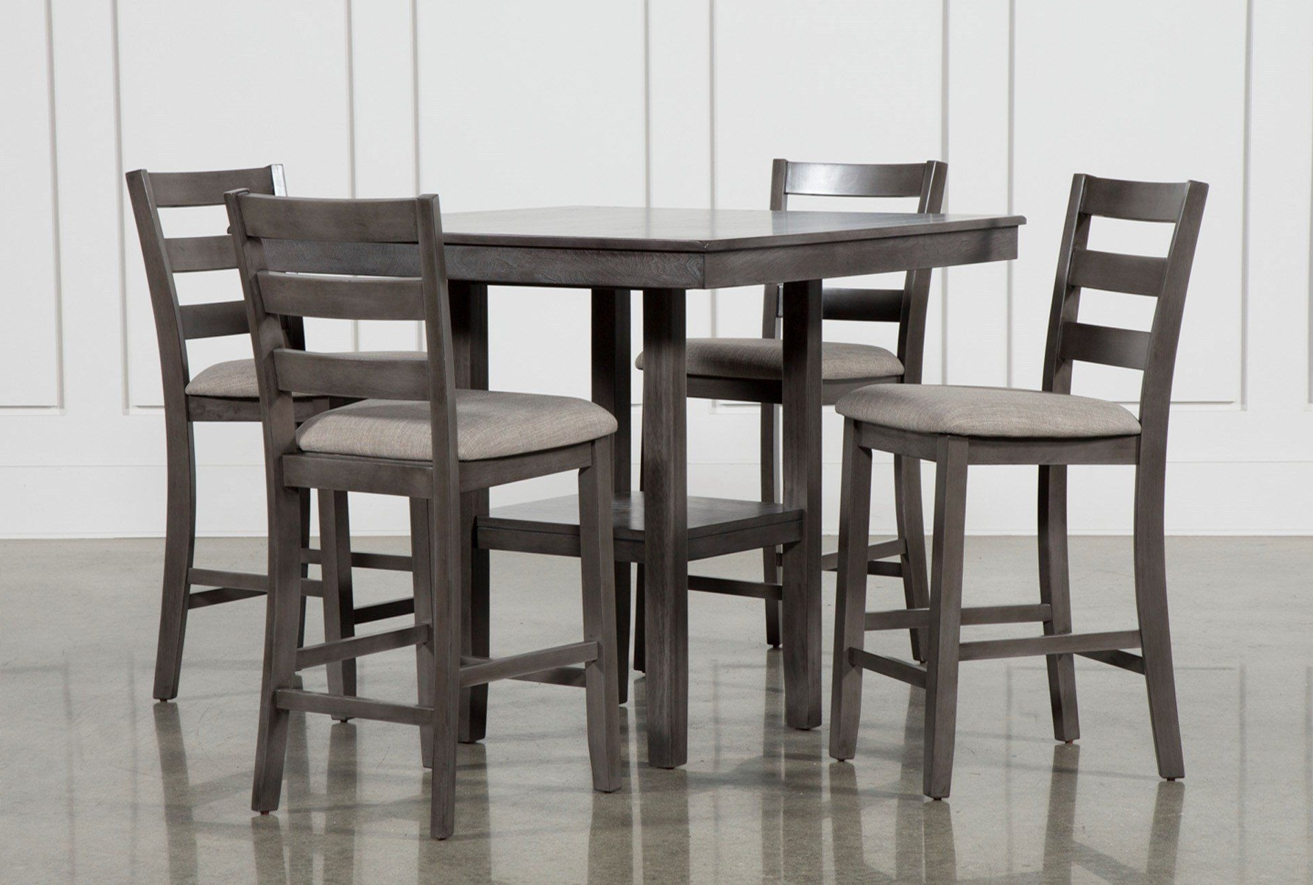 Jaxon 5 Piece Extension Counter Sets With Fabric Stools Pertaining To Well Liked Sit High And Mighty On Our Jameson Grey 5 Piece Counter Set (View 9 of 25)