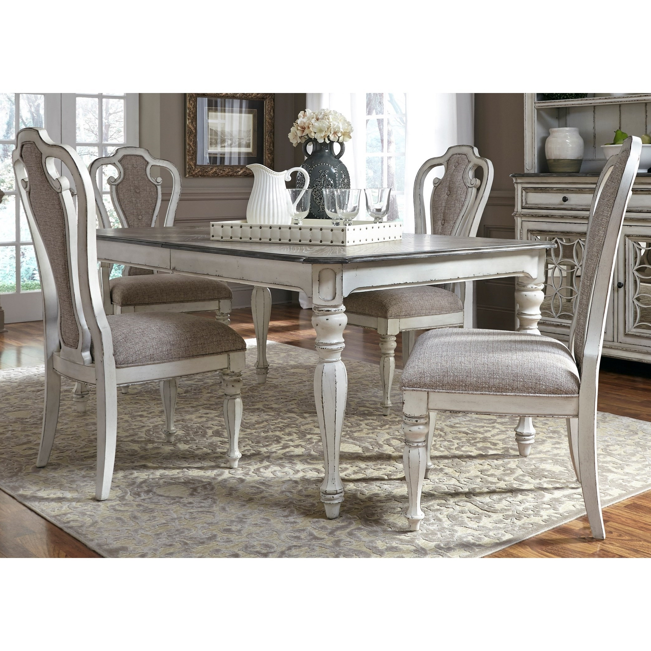 Jaxon 5 Piece Extension Counter Sets With Wood Stools within Latest Liberty Furniture Magnolia Manor Dining 5 Piece Rectangular Table