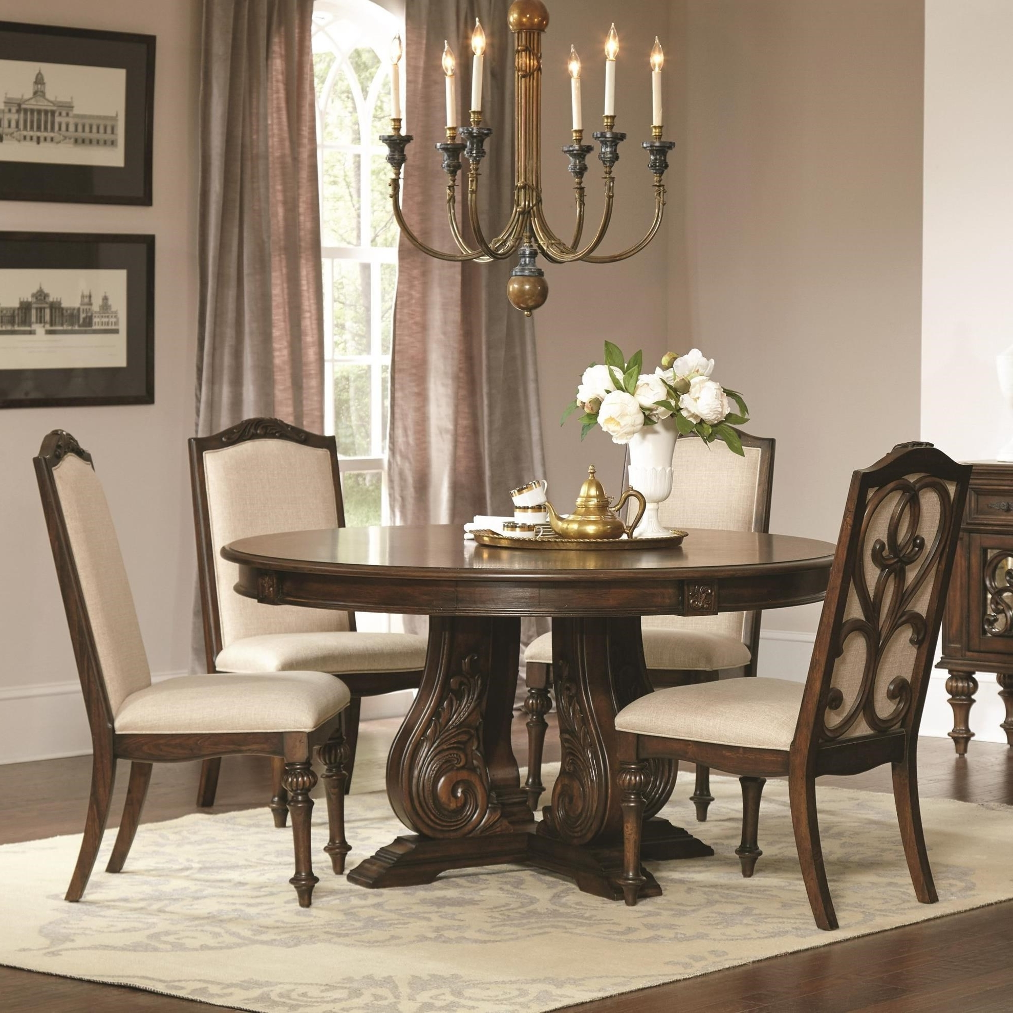 Jaxon 5 Piece Extension Counter Sets With Wood Stools Within Well Known Coaster Ilana Traditional 5 Piece Table And Chair Set With Pedestal (View 22 of 25)