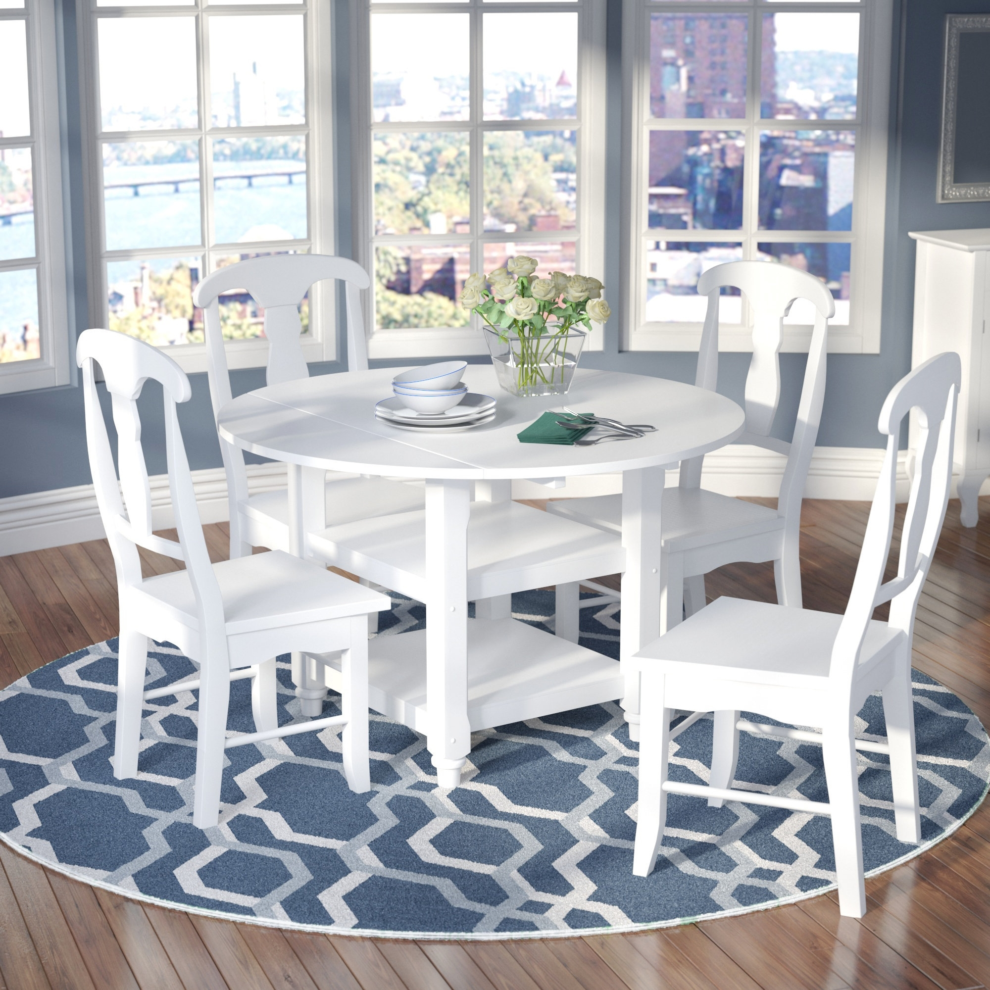 Jaxon 5 Piece Extension Round Dining Sets With Wood Chairs For Preferred Alcott Hill Harwick 5 Piece Dining Set & Reviews (View 14 of 25)