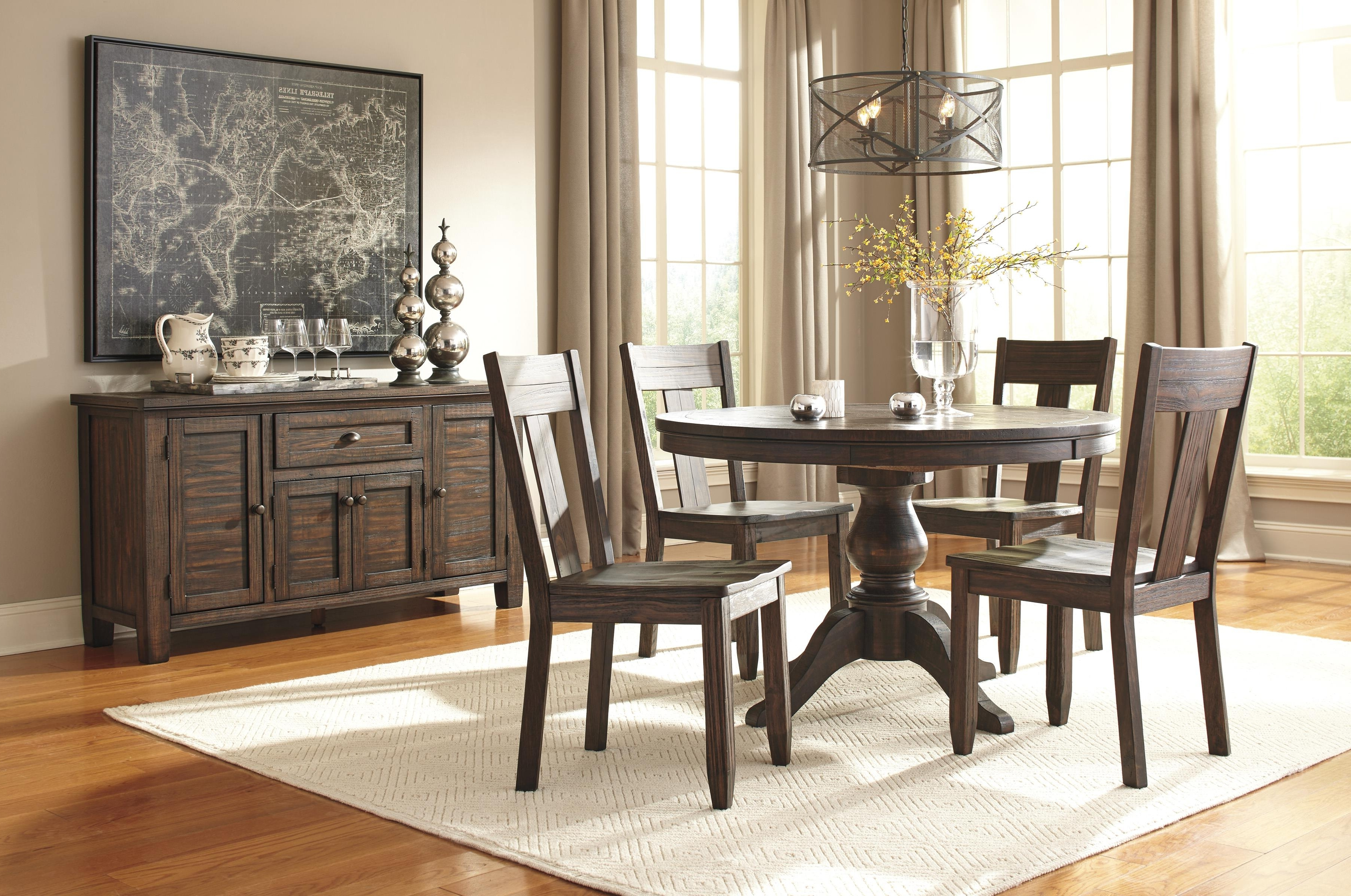 Jaxon 5 Piece Extension Round Dining Sets With Wood Chairs Intended For Most Up To Date Signature Designashley Trudell Round Dining Room Pedestal (View 7 of 25)