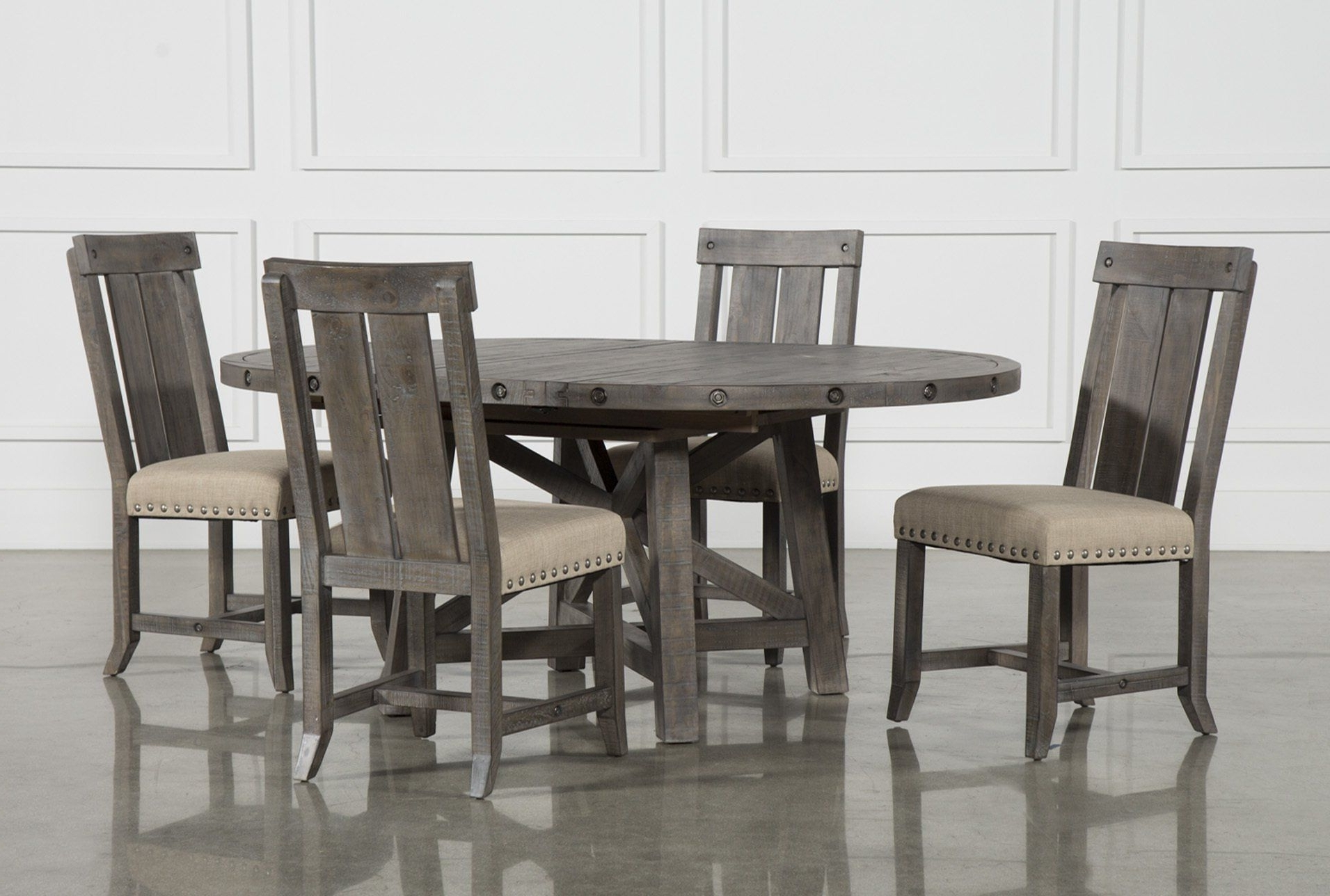 Jaxon 5 Piece Extension Round Dining Sets With Wood Chairs With Best And Newest Jaxon Grey 5 Piece Round Extension Dining Set W/wood Chairs (Gallery 1 of 25)