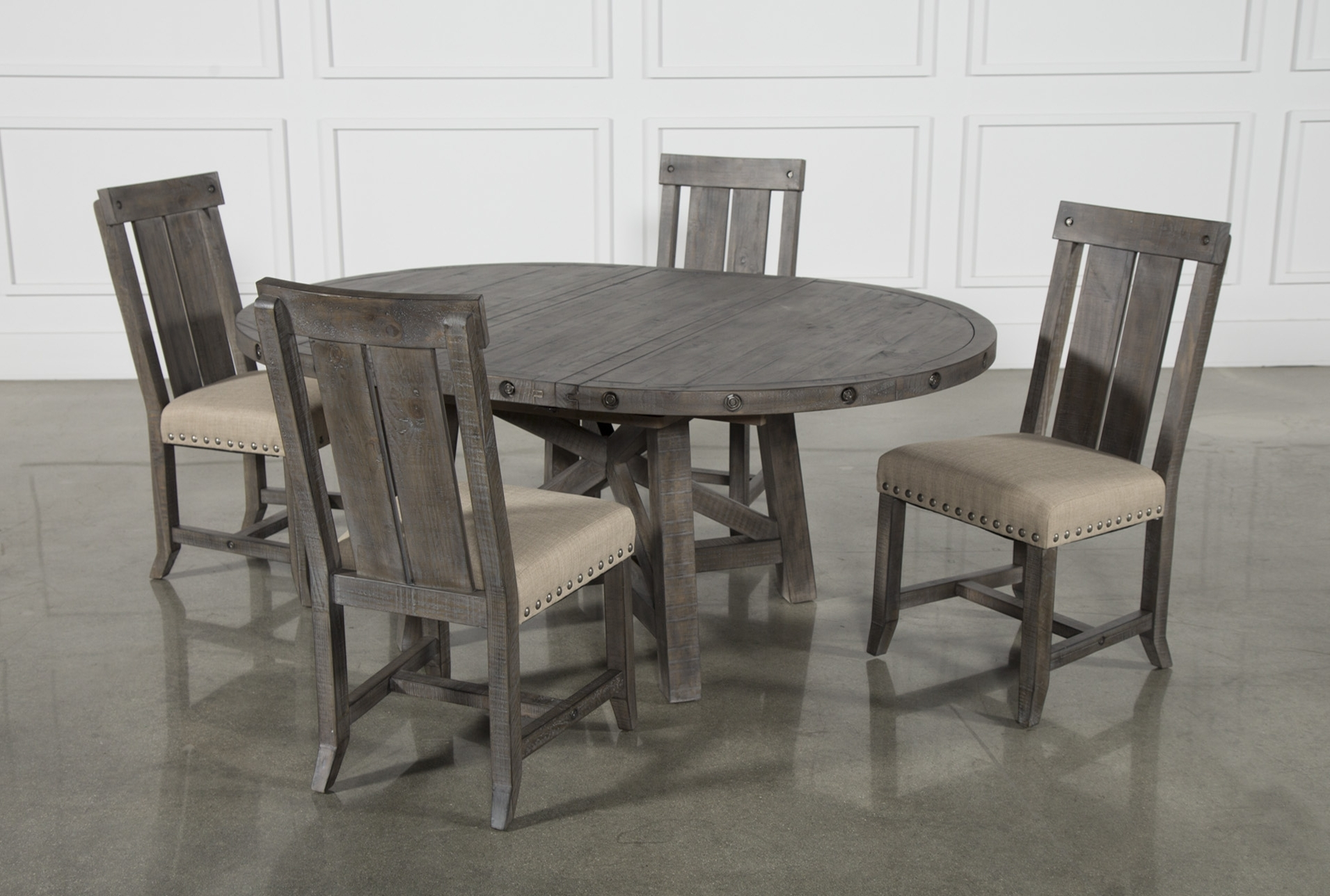 Jaxon 5 Piece Extension Round Dining Sets With Wood Chairs With Regard To Most Up To Date Jaxon Grey 5 Piece Round Extension Dining Set W/wood Chairs (Gallery 6 of 25)