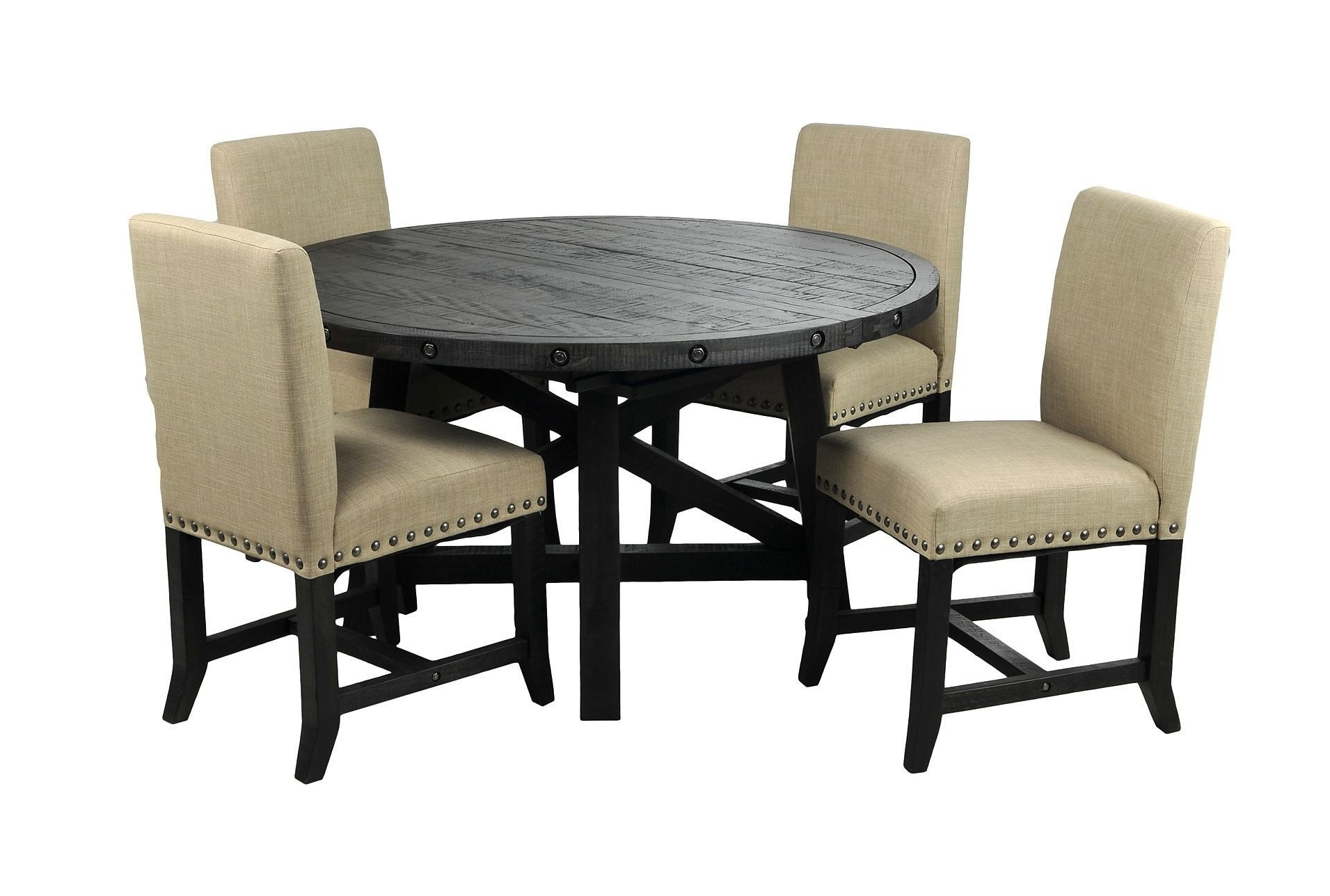Jaxon 5 Piece Round Dining Set W/upholstered Chairs