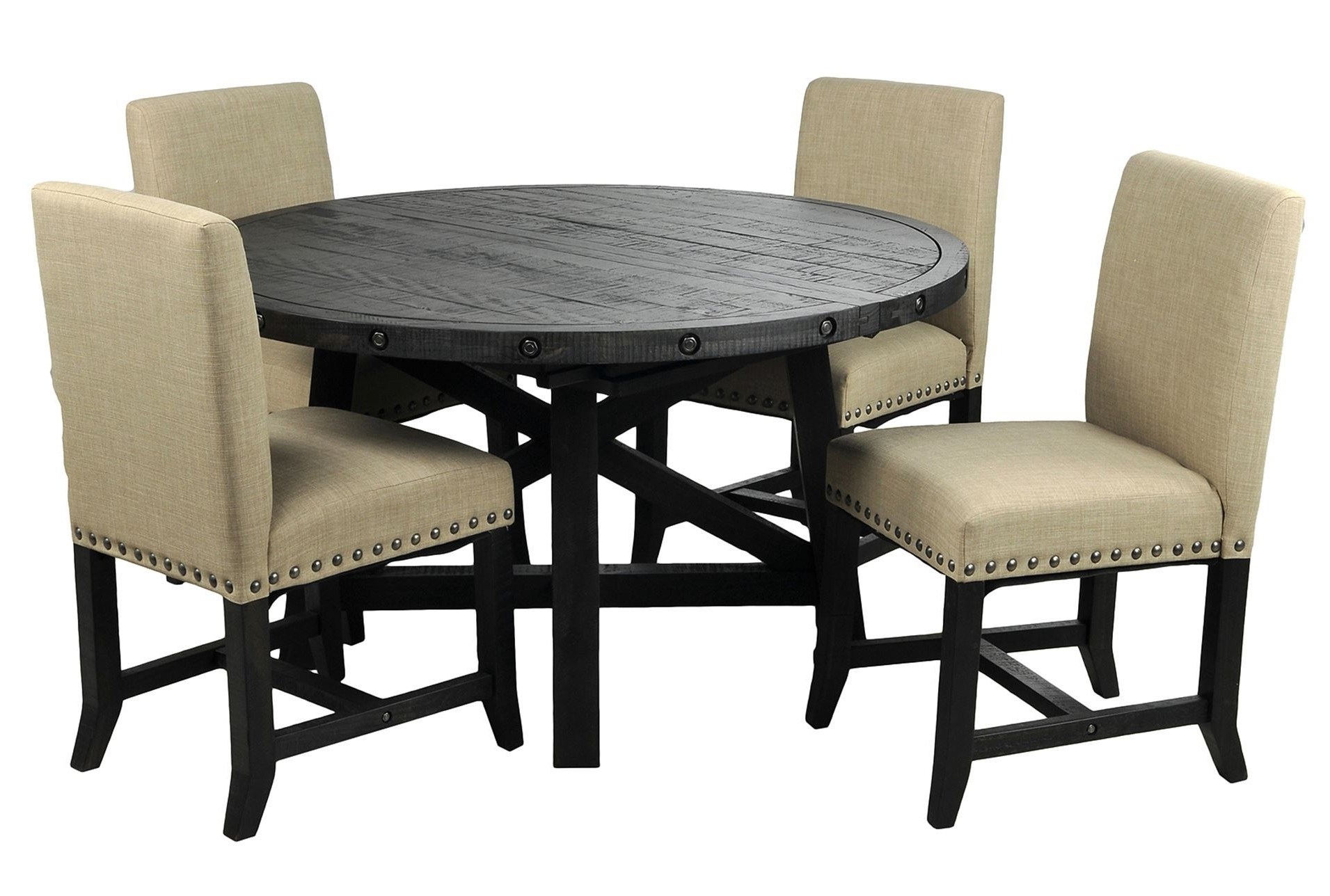 Jaxon 5 Piece Round Dining Set Wupholstered Chairs Dining Set With With Regard To Newest Jaxon 7 Piece Rectangle Dining Sets With Wood Chairs (Gallery 8 of 25)