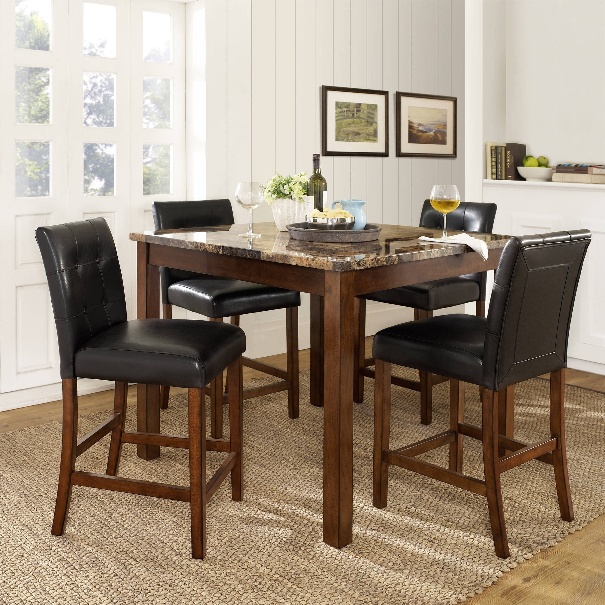 Jaxon 5 Piece Round Dining Sets With Upholstered Chairs Throughout Widely Used Dorel Living Andover 5 Piece Faux Marble Counter Height Dining Set (Gallery 18 of 25)