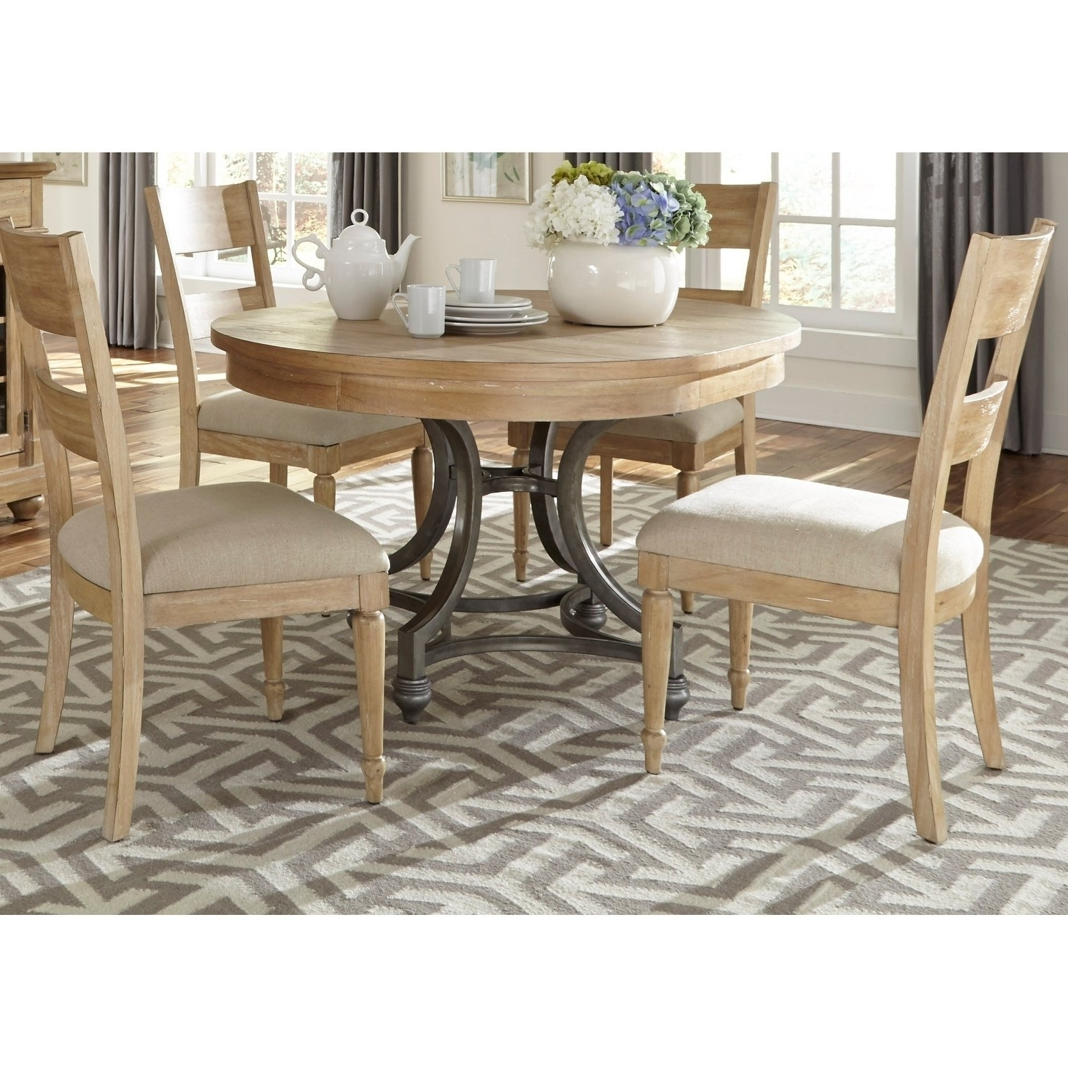 Jaxon 5 Piece Round Dining Sets With Upholstered Chairs within Most Up-to-Date Shop Harbor View Sand 5-Piece Round Table Set - On Sale - Free