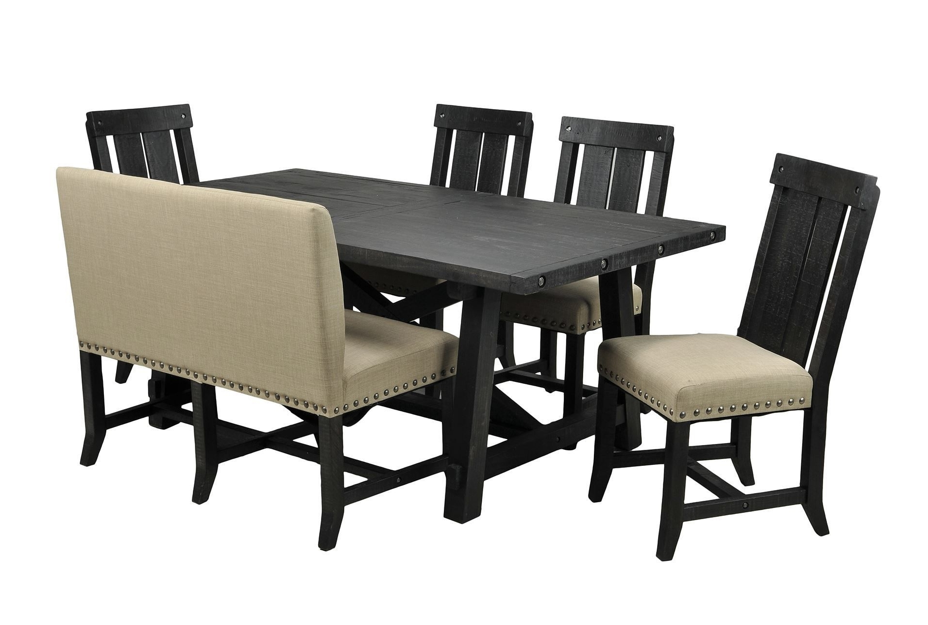 Jaxon 6 Piece Rectangle Dining Set W/bench & Wood Chairs, Café with Best and Newest Jaxon 6 Piece Rectangle Dining Sets With Bench & Uph Chairs