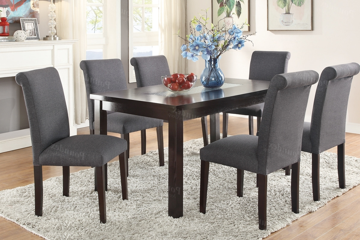 Jaxon 7 Piece Rectangle Dining Sets With Upholstered Chairs For Famous Tables, Chairs, & Servers – Hello Furniture (Gallery 14 of 25)