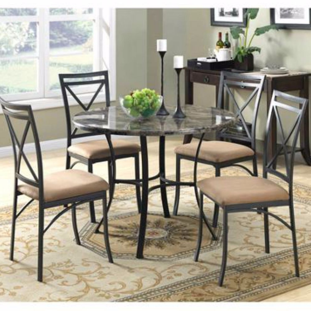 Jaxon 7 Piece Rectangle Dining Sets With Wood Chairs regarding Preferred Dining Set Table Chairs Round Marble Top 5 Piece Metal