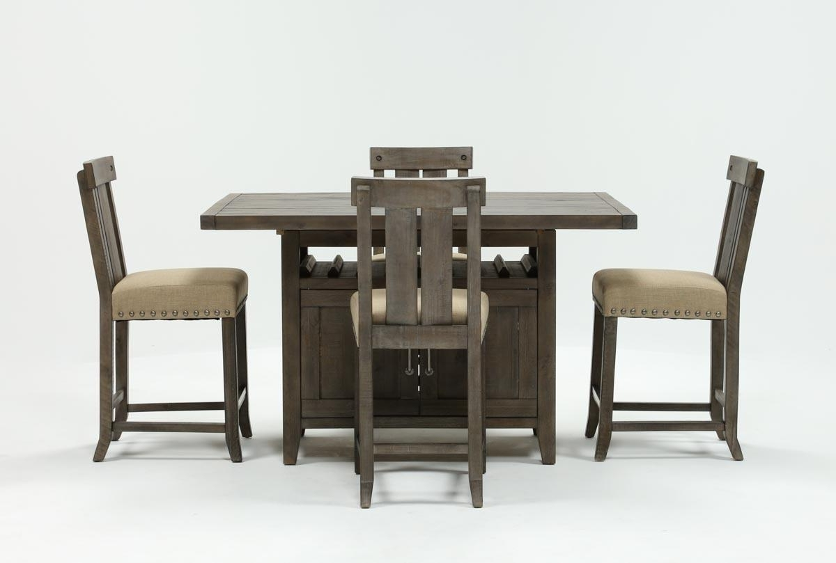 Jaxon Grey 5 Piece Extension Counter Set W/wood Stools (View 2 of 25)