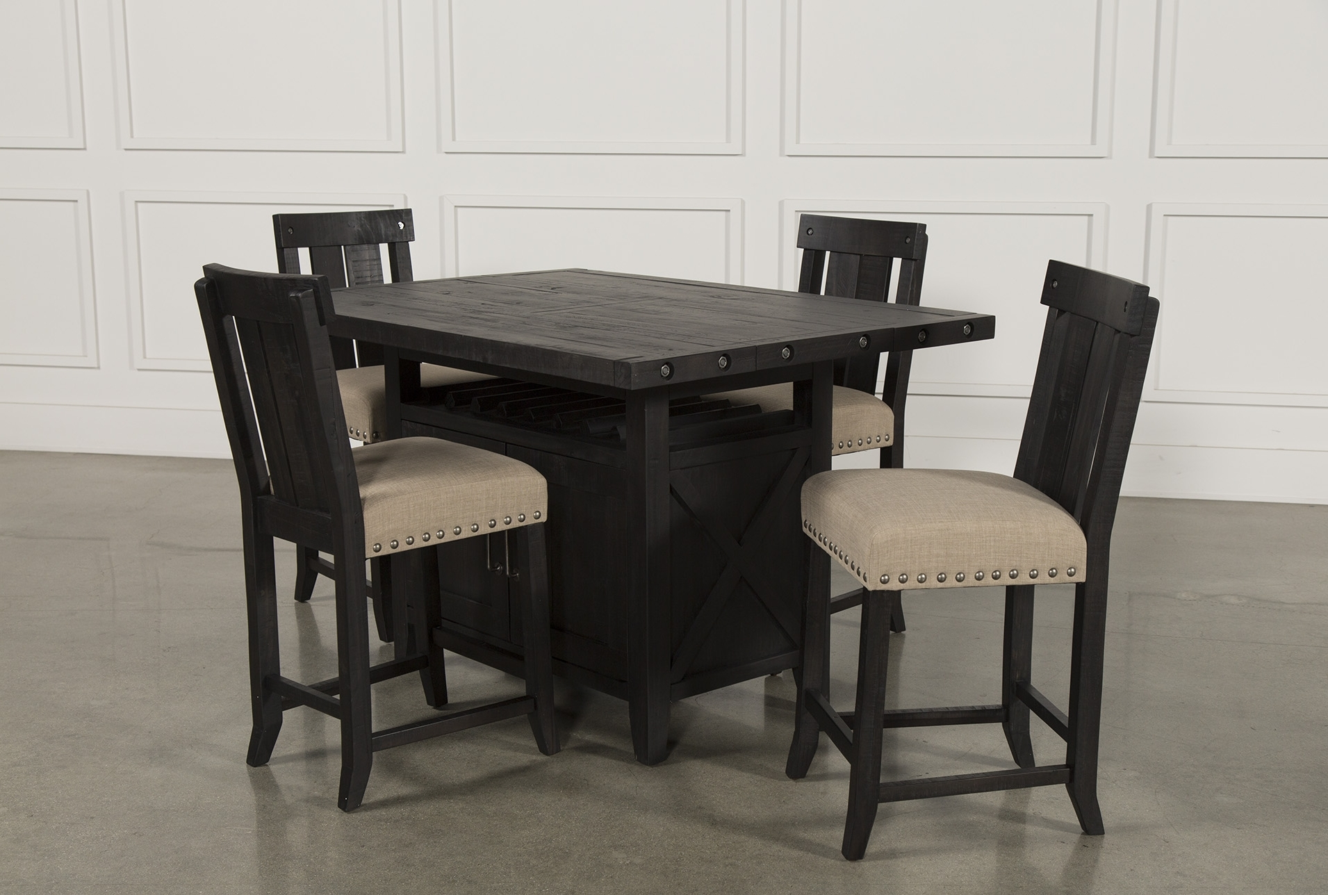 Jaxon Grey 5 Piece Extension Counter Sets With Fabric Stools Pertaining To Best And Newest Global Furniture Bar Table Black (View 10 of 25)