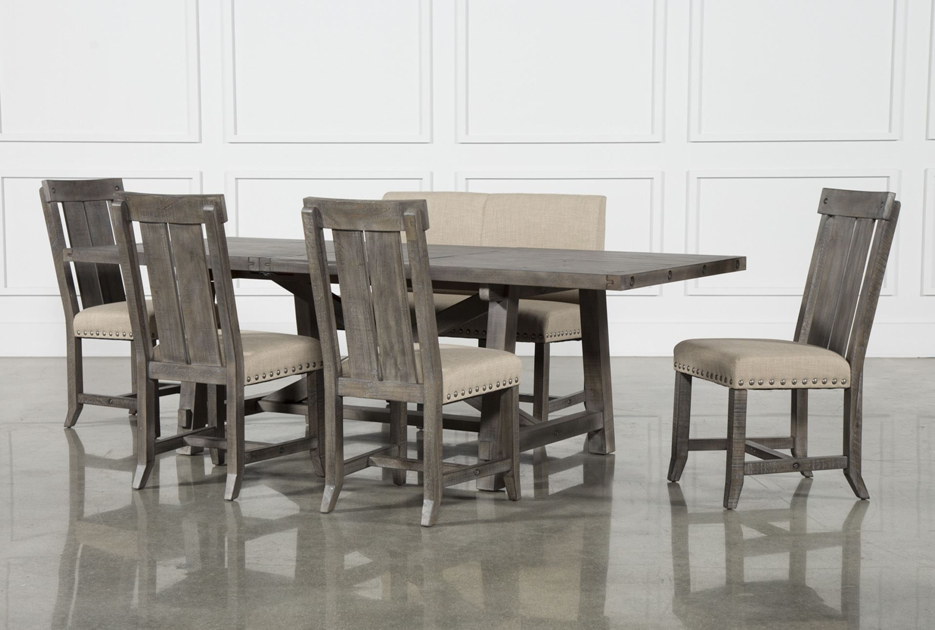 Jaxon Grey 6 Piece Rectangle Extension Dining Set W/bench & Wood Within Widely Used Norwood 9 Piece Rectangle Extension Dining Sets (Gallery 4 of 25)