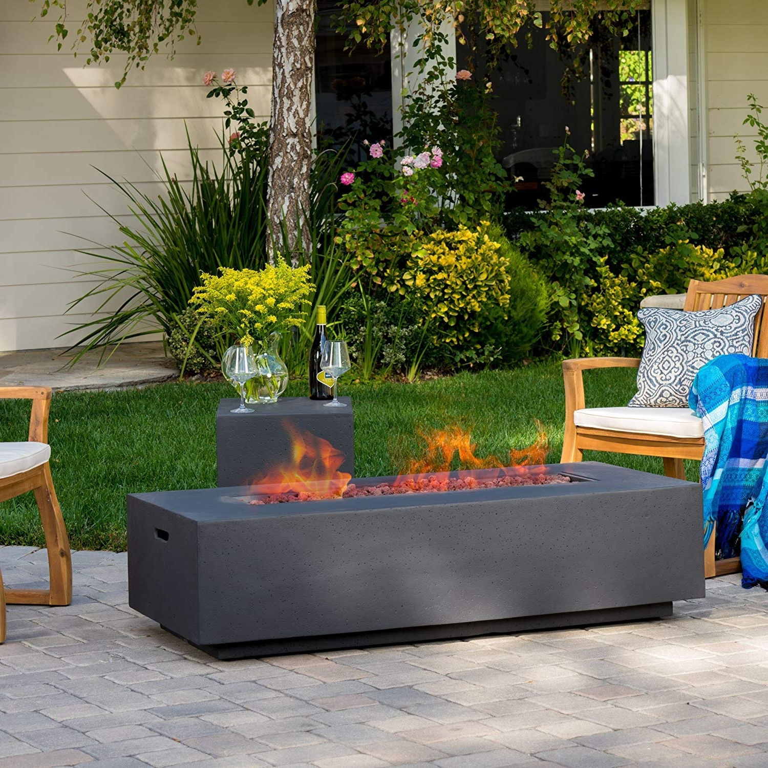 Jaxon Grey 6 Piece Rectangle Extension Dining Sets With Bench & Uph Chairs Regarding Newest Amazon: Jaxon Outdoor Fire Table With Lava Rocks & Tank Holder (Gallery 24 of 25)