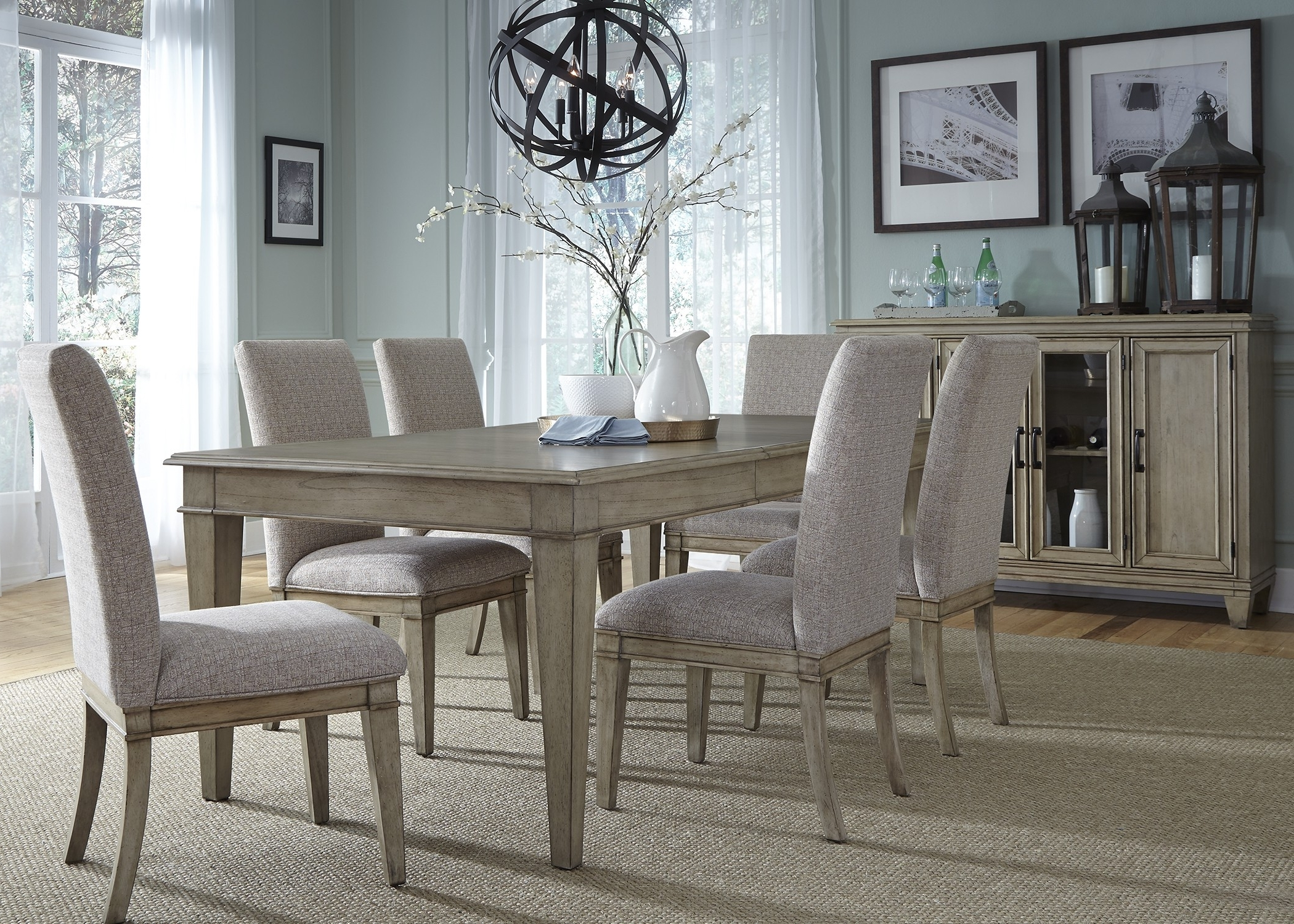 Jaxon Grey 6 Piece Rectangle Extension Dining Sets With Bench & Uph Chairs With Regard To Current  (View 14 of 25)