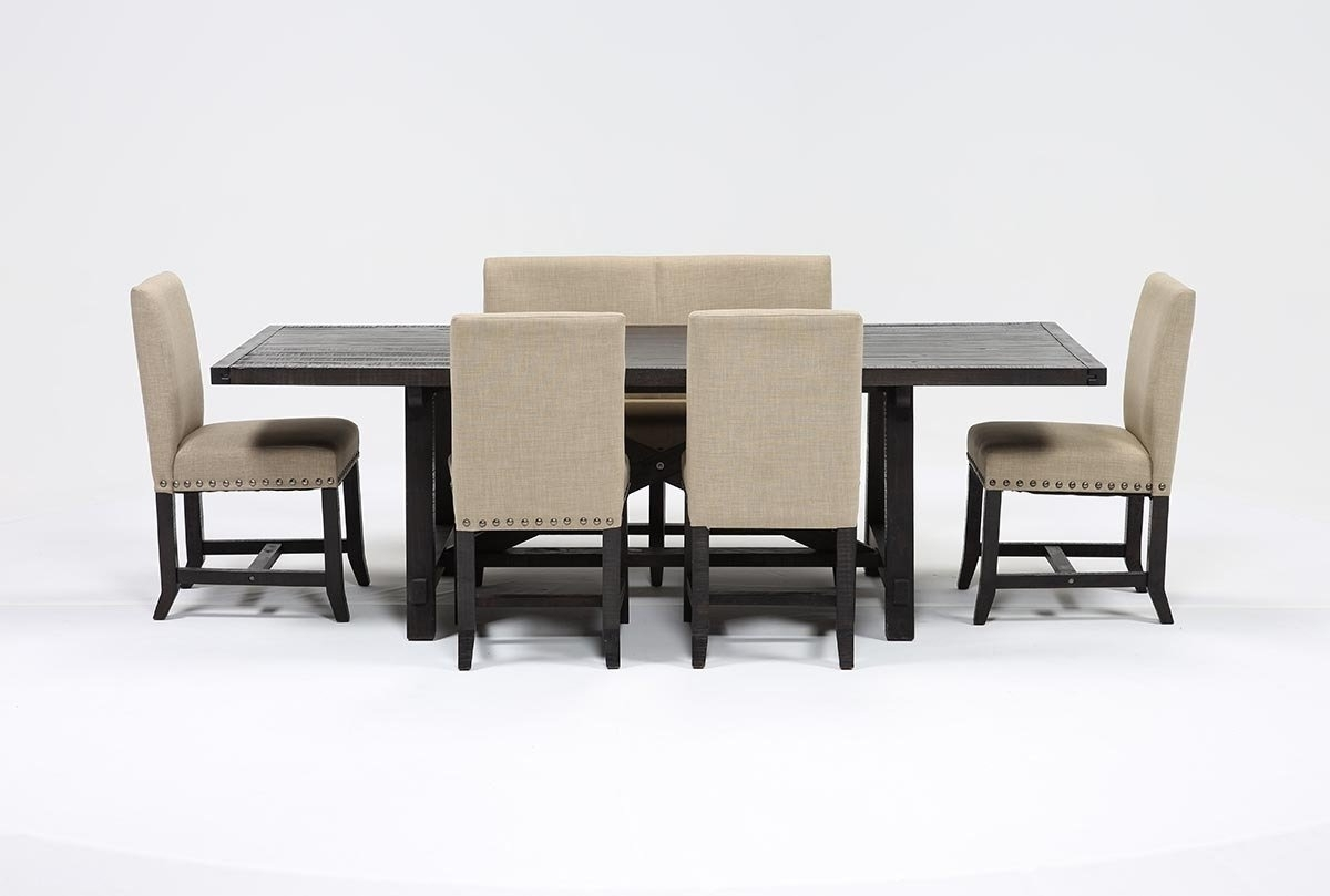 Jaxon Grey 6 Piece Rectangle Extension Dining Sets With Bench & Wood Chairs Inside Most Up To Date Kit Jaxon 6 Piece Rectangle Dining Set W/bench & Uph Chairs (Gallery 19 of 25)