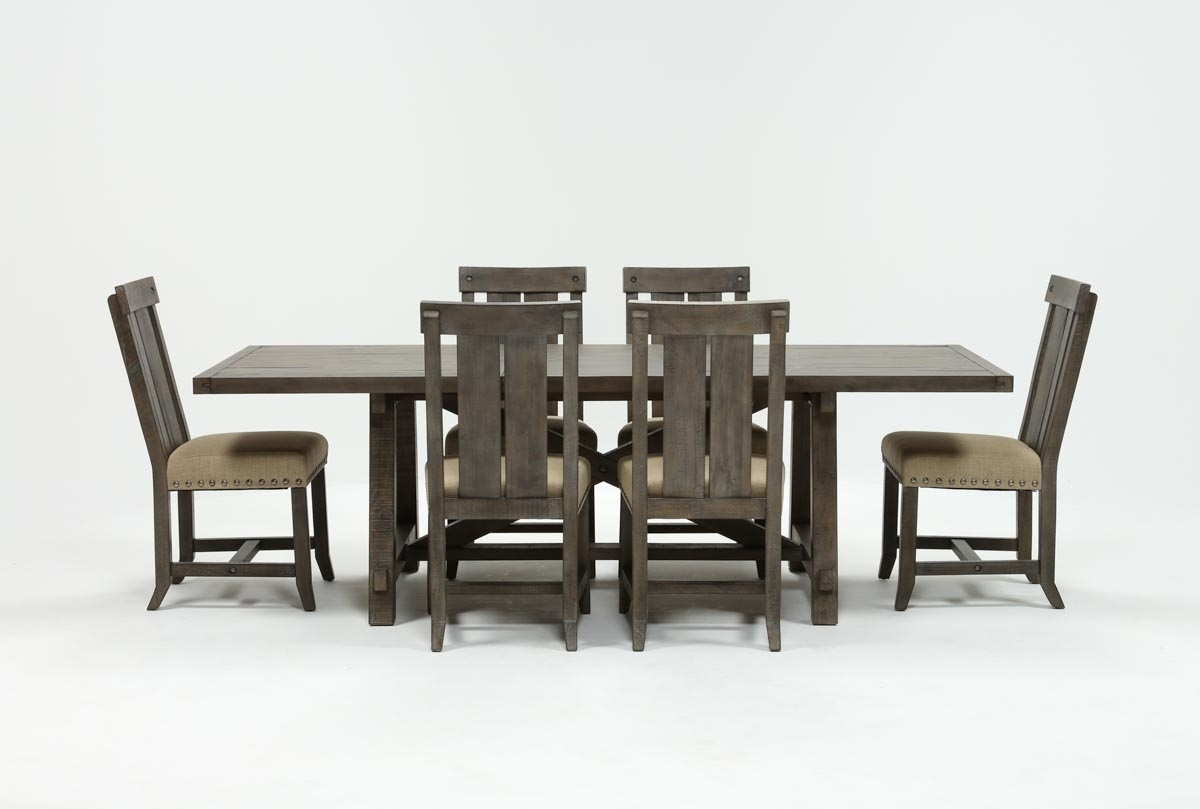Jaxon Grey 7 Piece Rectangle Extension Dining Set W/wood Chairs for Famous Jaxon Grey Rectangle Extension Dining Tables