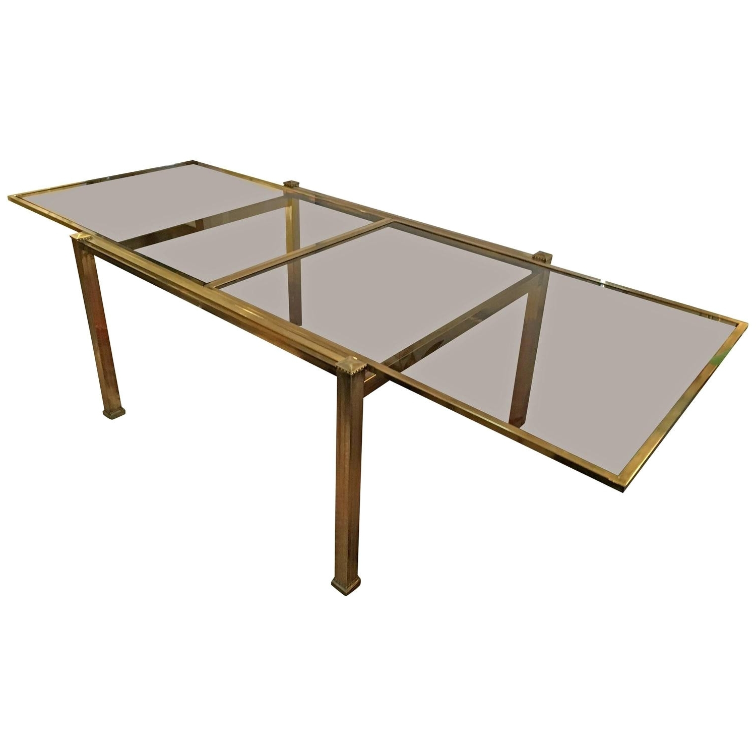 Jaxon Round Extension Dining Tables Inside Newest Ideal Mastercraft Brass And Smoked Glass Extension Dining Table At (View 15 of 25)