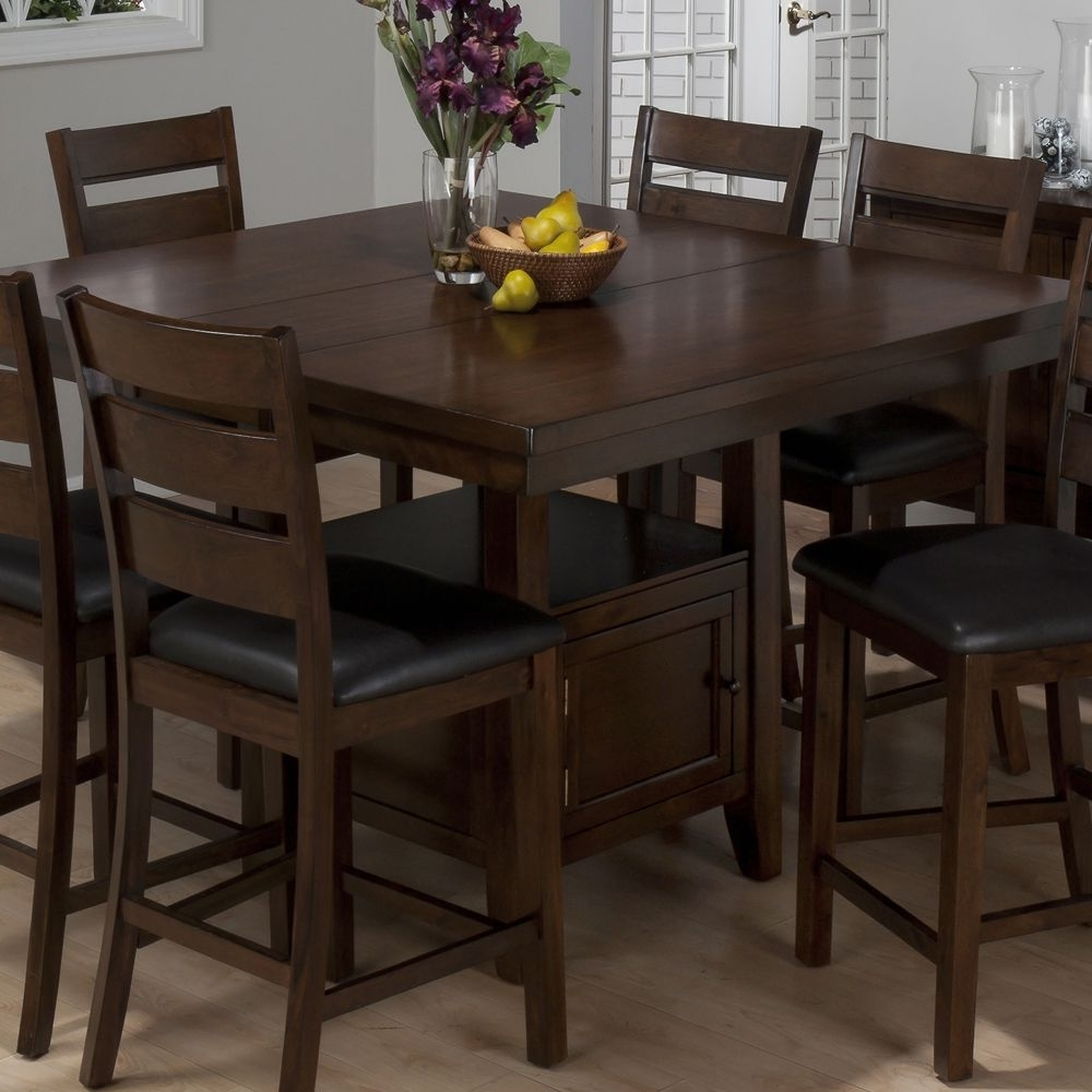 Jofran 337 54 Taylor 7 Piece Butterfly Leaf Counter Height Table Set Throughout Well Known Ina Matte Black 60 Inch Counter Tables With Frosted Glass (View 22 of 25)