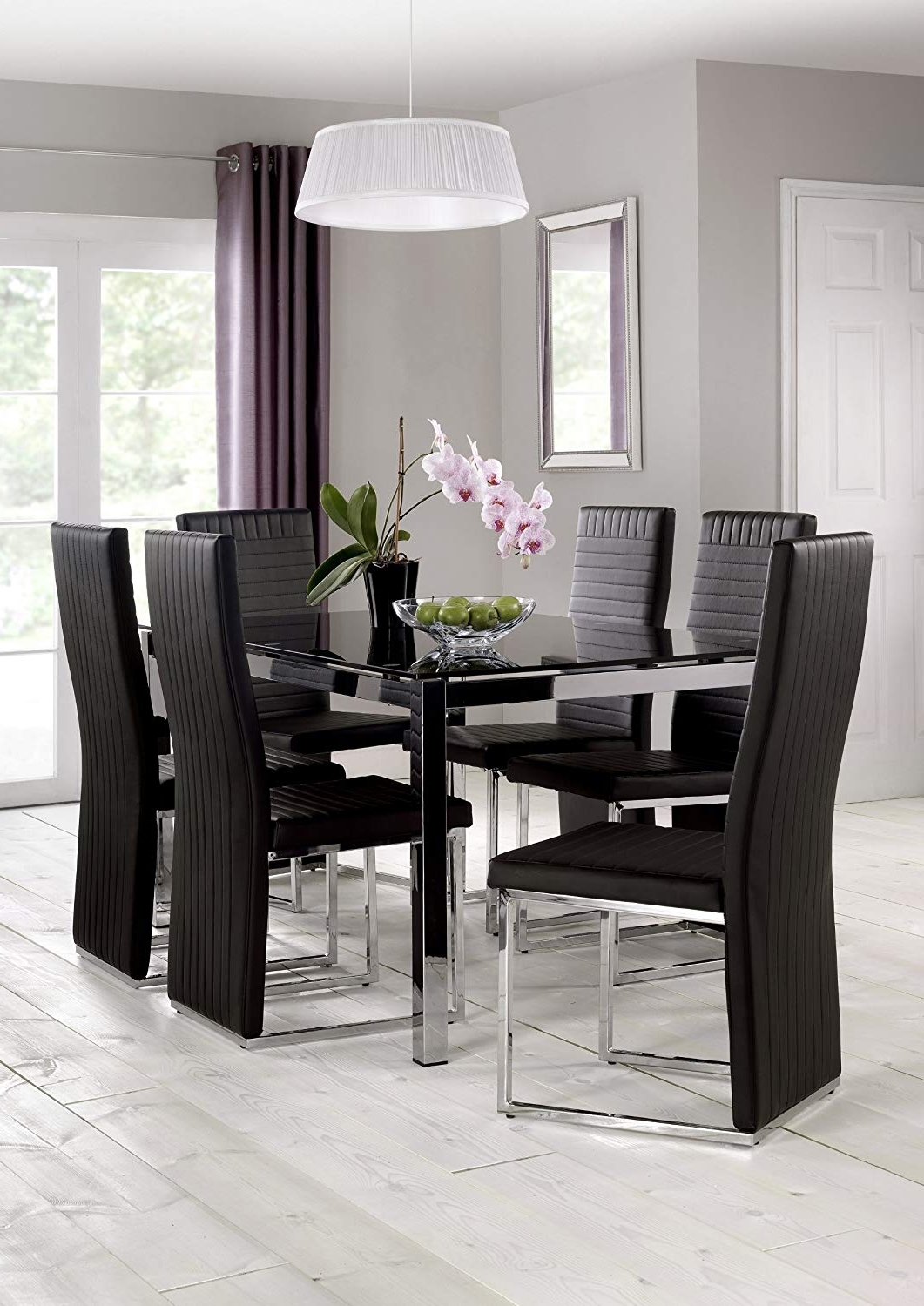 Julian Bowen Tempo Glass Dining Table, Chrome/black: Amazon.co.uk In Well Liked Black Glass Dining Tables With 6 Chairs (Gallery 3 of 25)