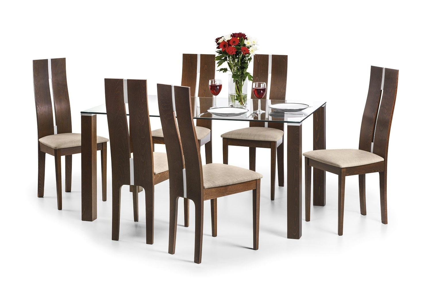 Kayman 150Cm Walnut And Glass Dining Table And Chairs Inside Most Current Glass And Oak Dining Tables And Chairs (View 13 of 25)