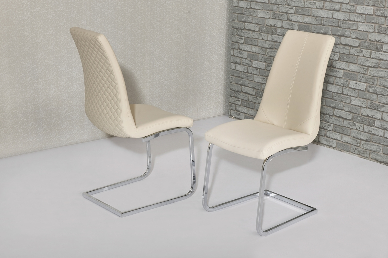 Kelcy Cream Leather Dining Chairs Regarding Popular Cream Leather Dining Chairs (View 17 of 25)