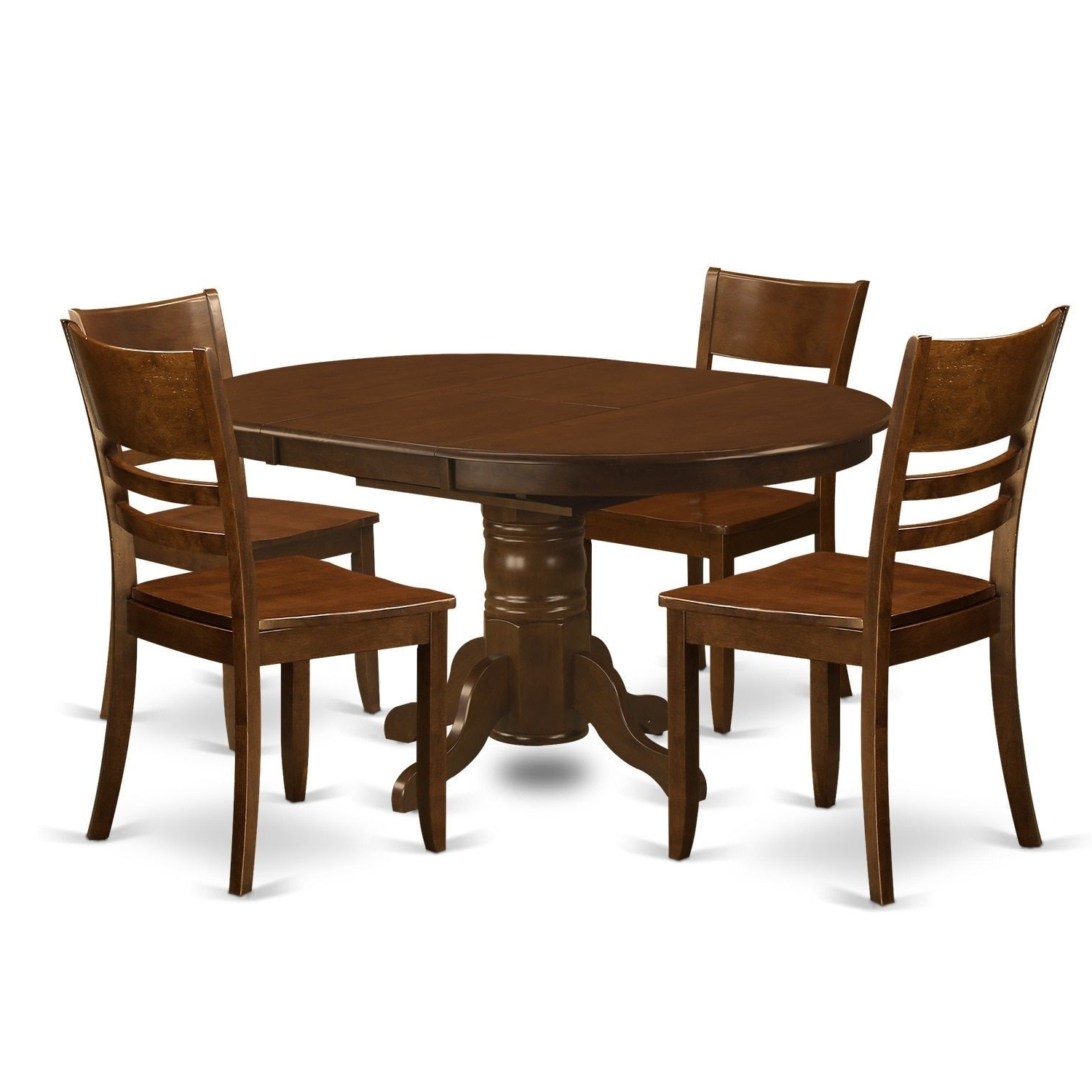 Kenley 5 Piece Espresso Dining Set With Extension Leaf (Faux Leather In Newest Combs 48 Inch Extension Dining Tables (Gallery 19 of 25)