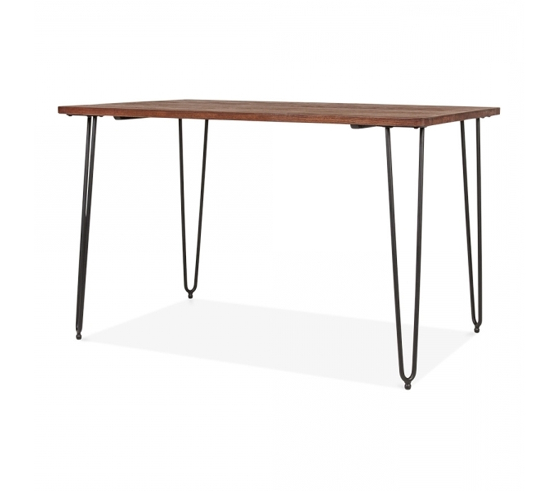 Kergo Black Metal Hairpin Leg Dining Table With Solid Elm Wood Top For Widely Used Dining Tables With Metal Legs Wood Top (View 13 of 25)
