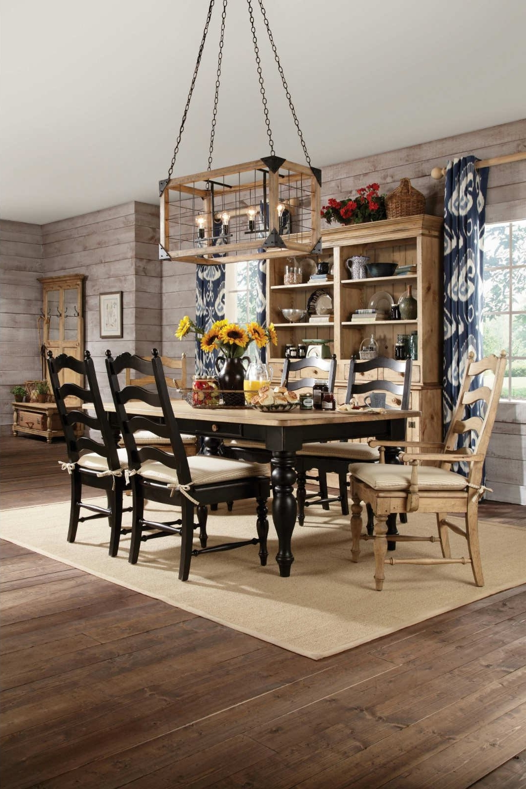 Kincaid Homecoming Solid Wood Farmhouse Leg Dining Table Set In intended for Best and Newest Black Wood Dining Tables Sets