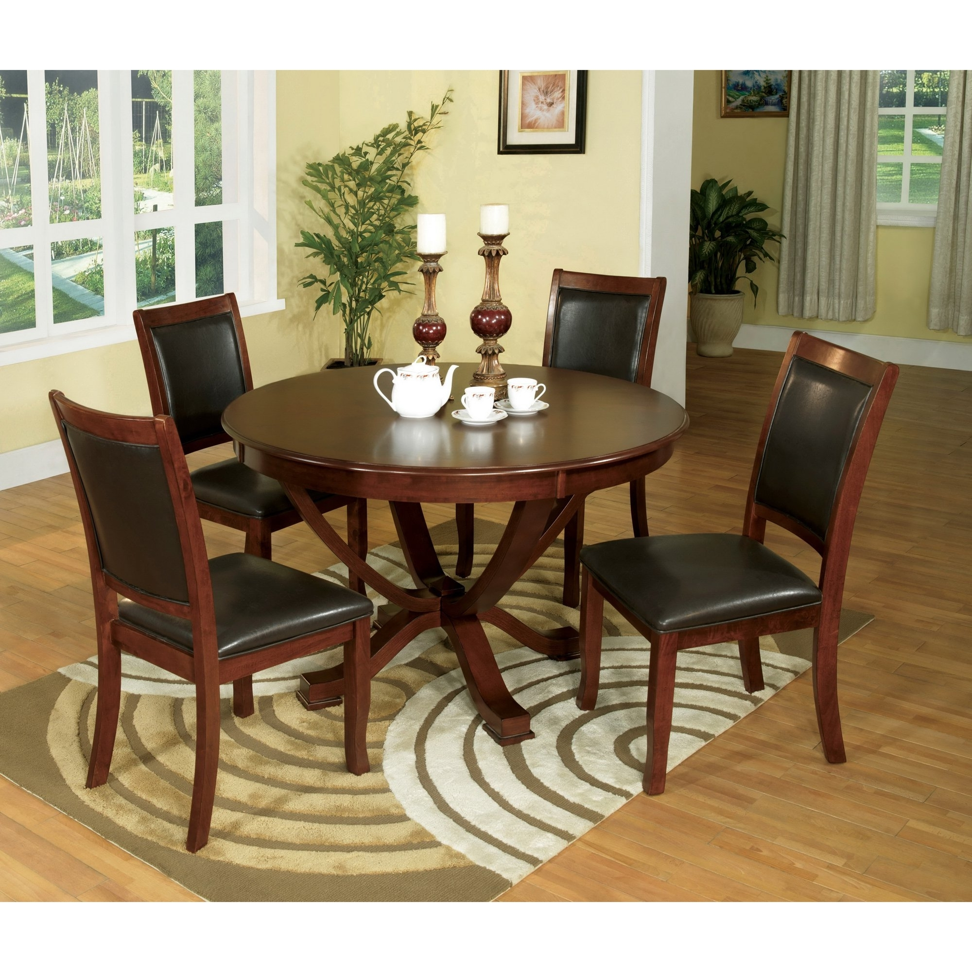 Kirsten 5 Piece Dining Sets intended for Current Shop Furniture Of America Kristen 5-Piece Brown Cherry Dining Set