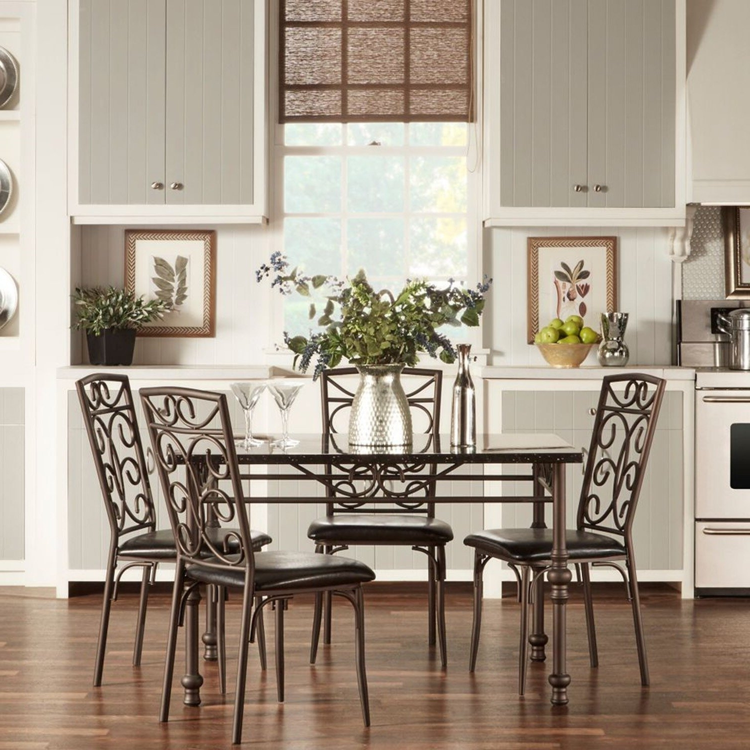 Kirsten 6 Piece Dining Sets Pertaining To Well Liked Shop Zella Bistro Faux Marble Top Metal Scroll 5 Piece Dining Set (View 15 of 25)