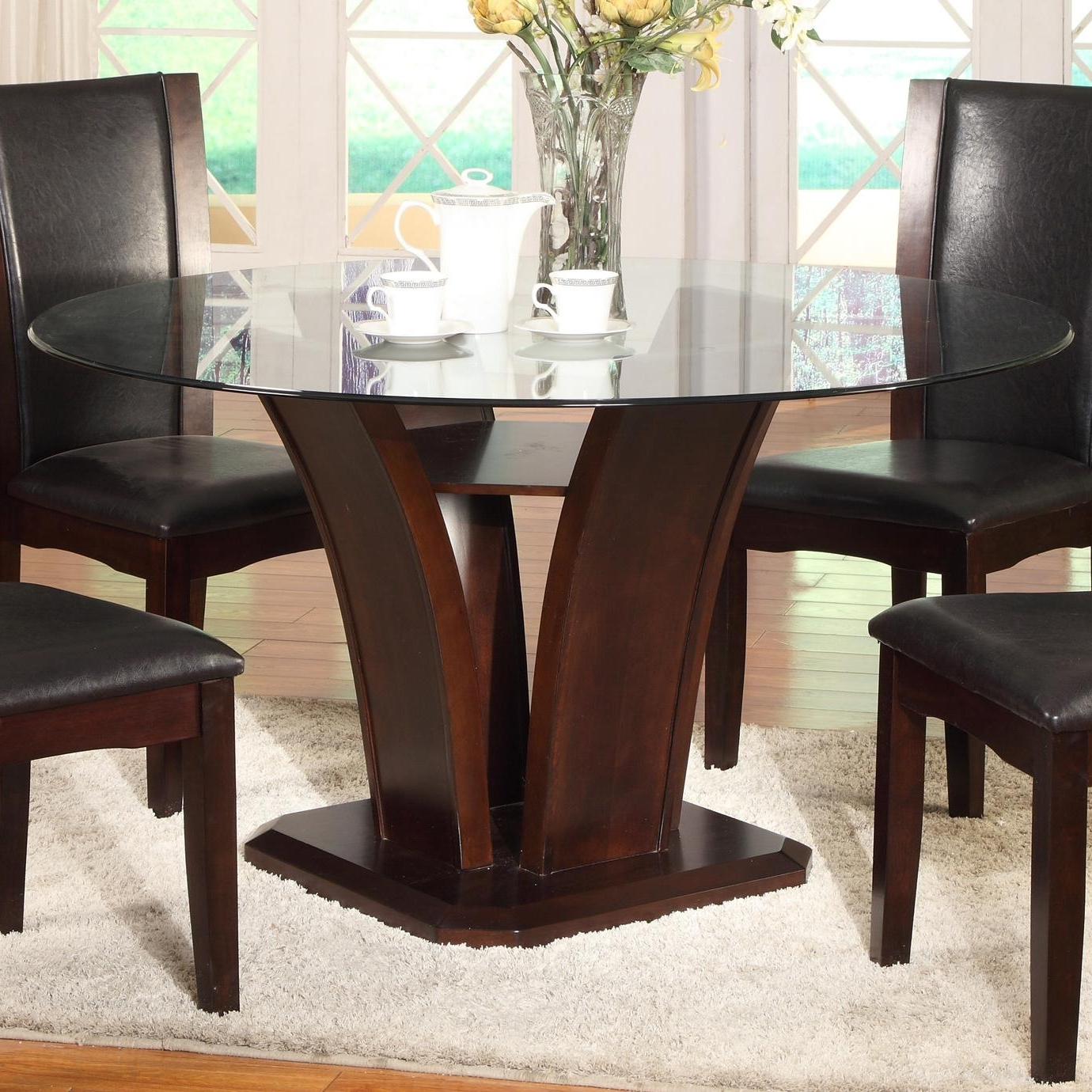 Kitchen Dining Sets Intended For Newest Crown Mark Camelia Espresso Round Glass Top Dining Table With (View 16 of 25)