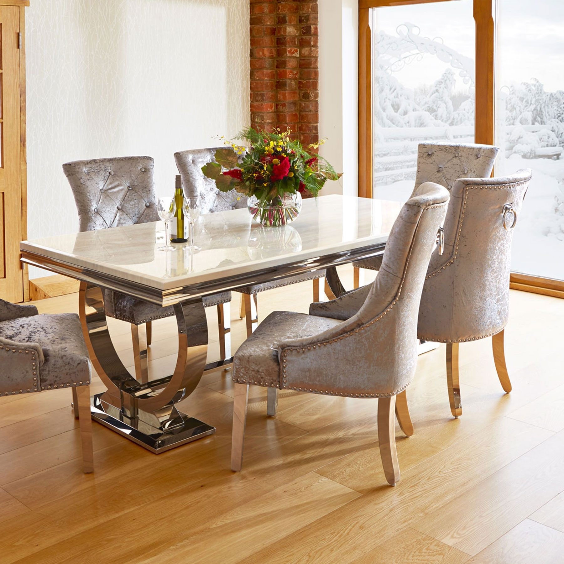 Kitchen Dining Tables And Chairs Inside Favorite Renata Marble And Chrome Dining Table & 6 Silver Louis Chairs (View 11 of 25)