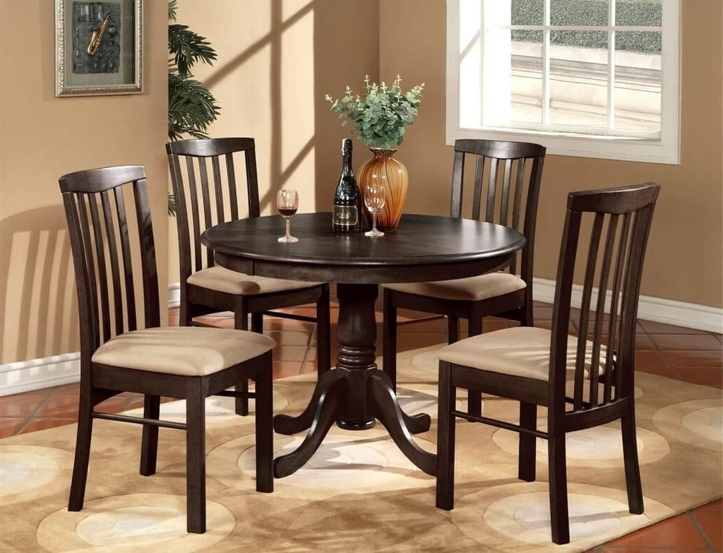 Kitchen: Modern Round Kitchen Table In Espresso Finish With 4 Padded Inside 2017 Small Round Dining Table With 4 Chairs (View 9 of 25)