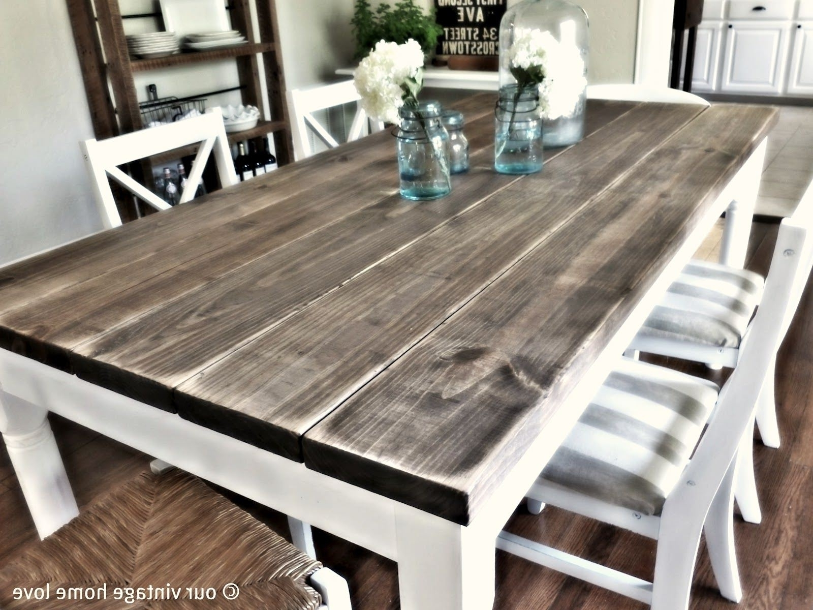 Kitchen Table White Legs Wood Top Farmhouse Dining Table White Legs intended for Best and Newest Dining Tables With White Legs And Wooden Top
