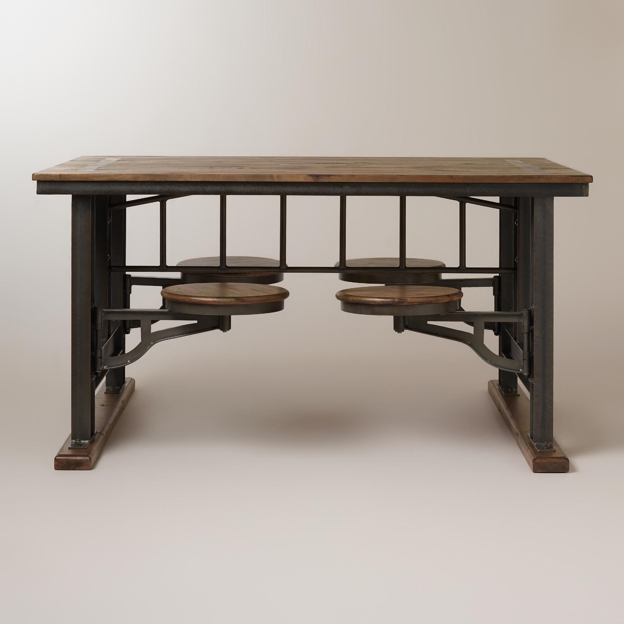 Kitchen Table With Attached within Well known Dining Tables With Attached Stools
