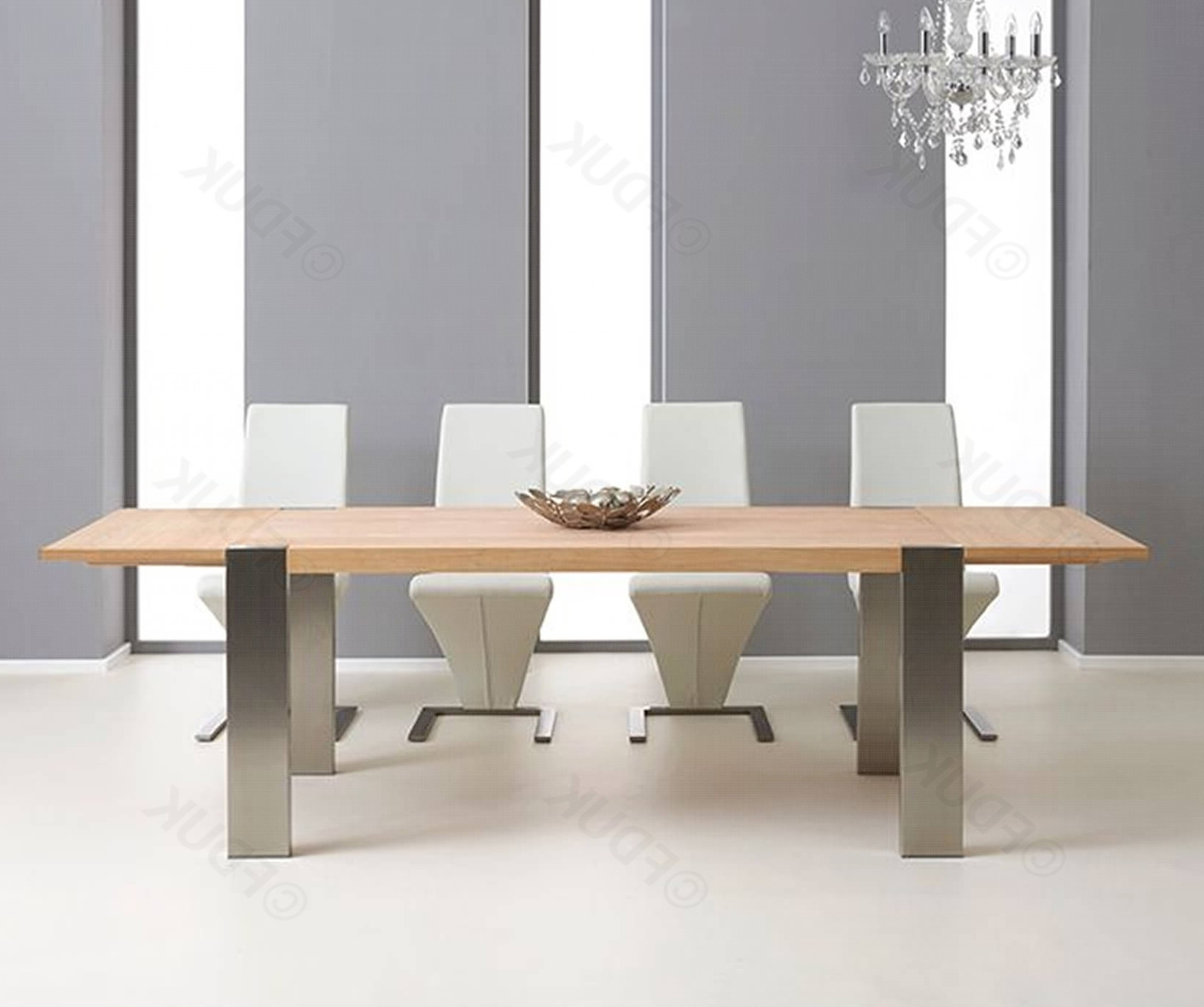 Knightsbridge 180Cm (270Cm) Metal And Oak Extending regarding Well known 180Cm Dining Tables