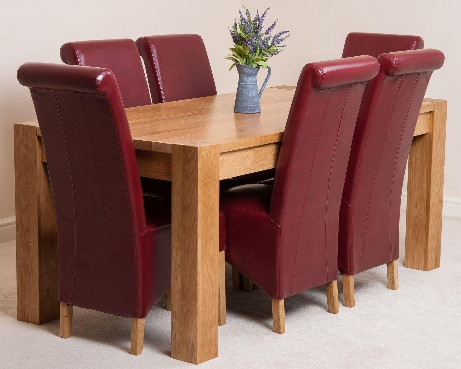 Kuba Solid Oak 180Cm Dining Table With 6 Montana Dining Chairs Inside Latest Oak Leather Dining Chairs (View 4 of 25)