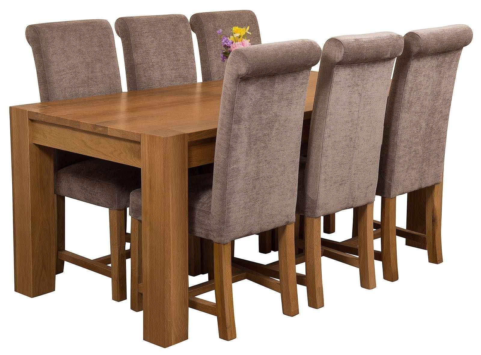 Kuba Solid Oak 180Cm Dining Table With 6 Washington Dining Chairs For Well Liked Oak Fabric Dining Chairs (View 9 of 25)