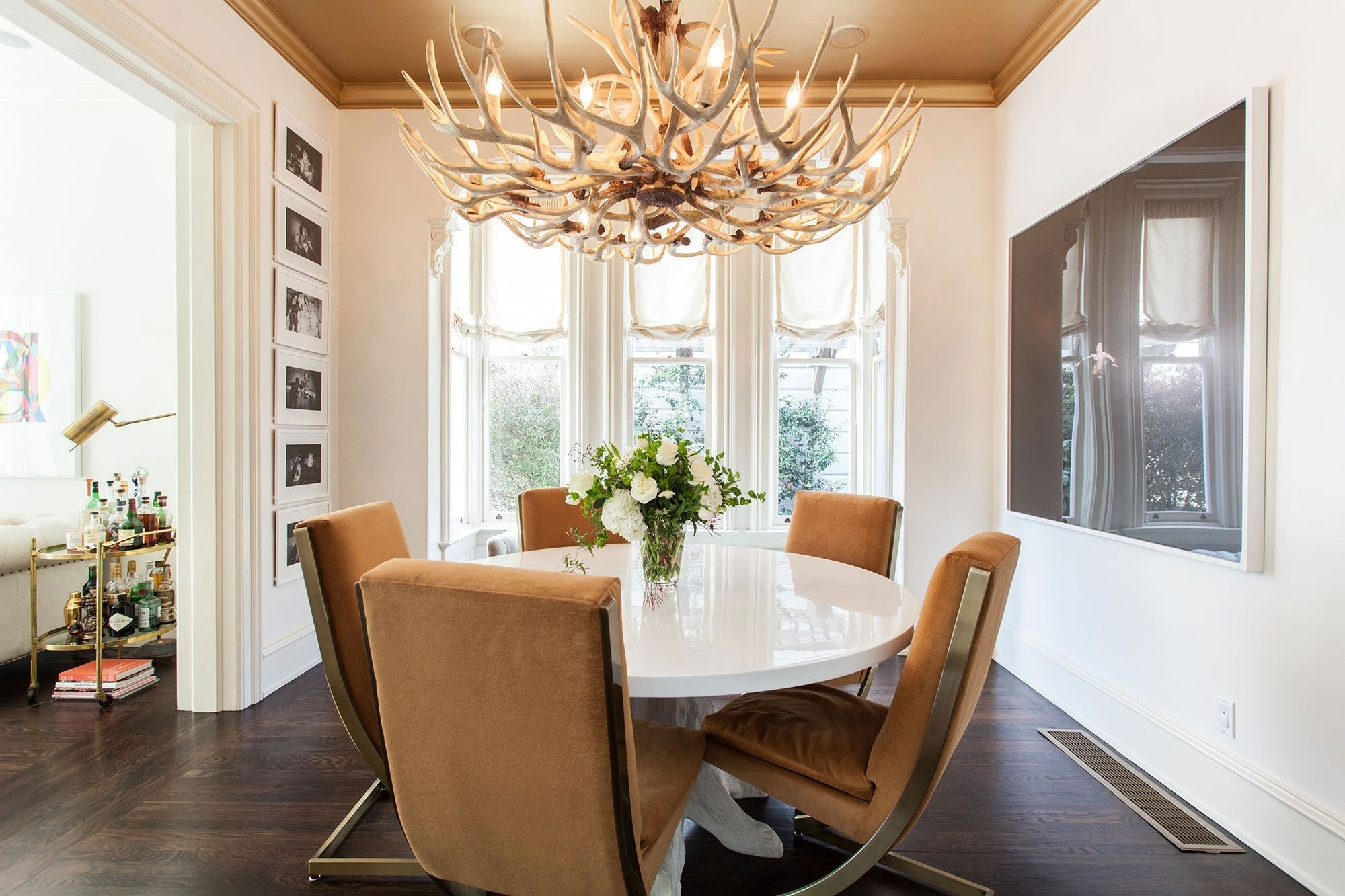 Lake And Cabin Interior Ideas In Inside Preferred Weaver Dark 7 Piece Dining Sets With Alexa White Side Chairs (View 9 of 25)