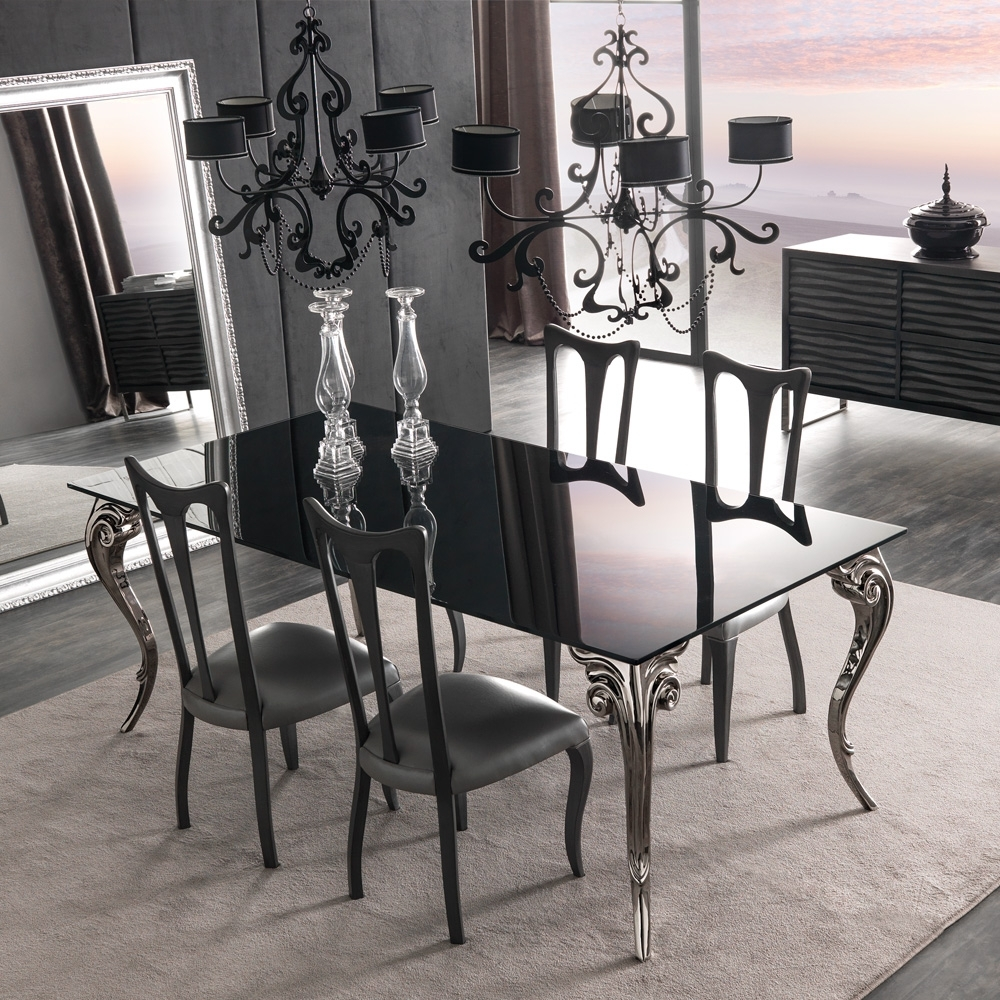 Large Black Glass Dining Table Set Within Well Known Black Glass Dining Tables And 4 Chairs (View 4 of 25)