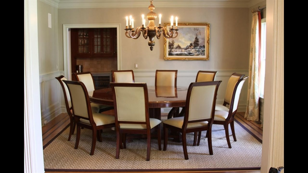 Large Round Dining Table Seats 10 Design Uk – Youtube Pertaining To Latest 8 Seater Round Dining Table And Chairs (View 17 of 25)